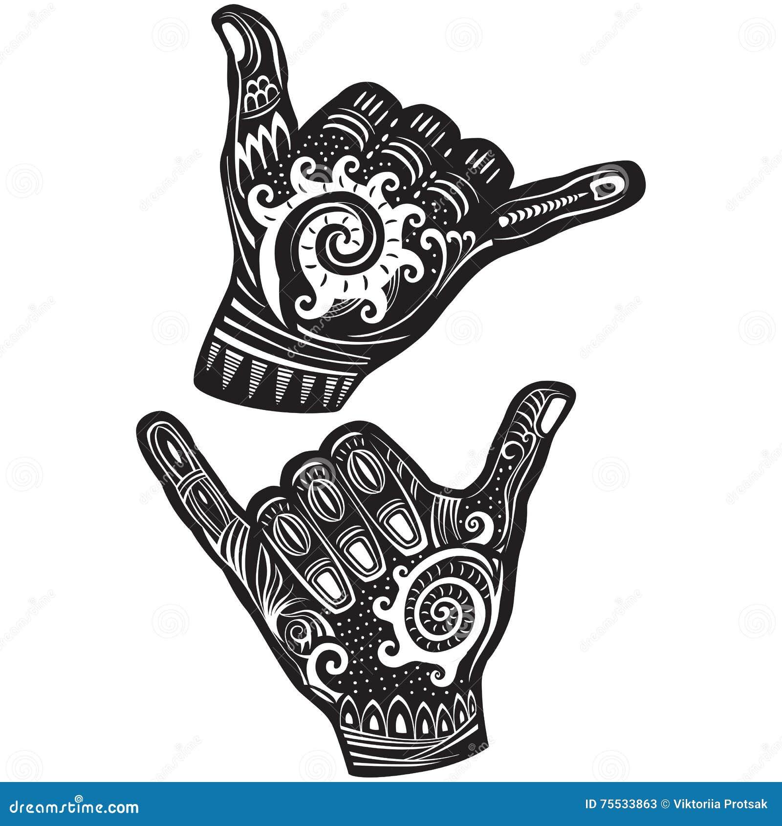 shaka surf hand sign stock vector image 75533863