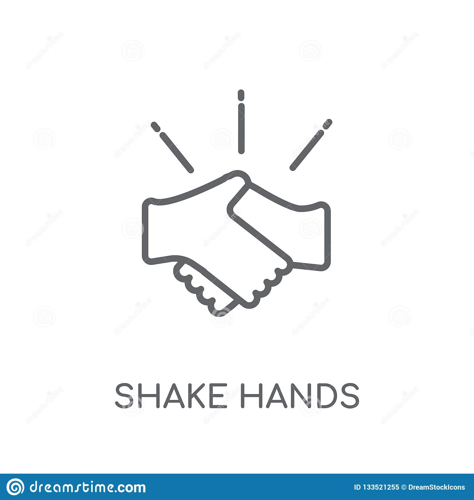 Shake hands linear icon. Modern outline Shake hands logo concept