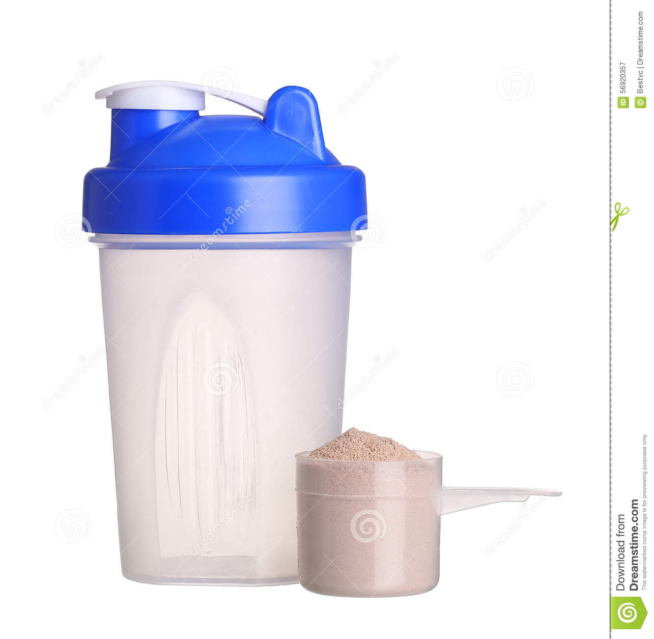 Protein Shaker Net: Shaker And Cup Of Protein Powder Isolated On White Stock
