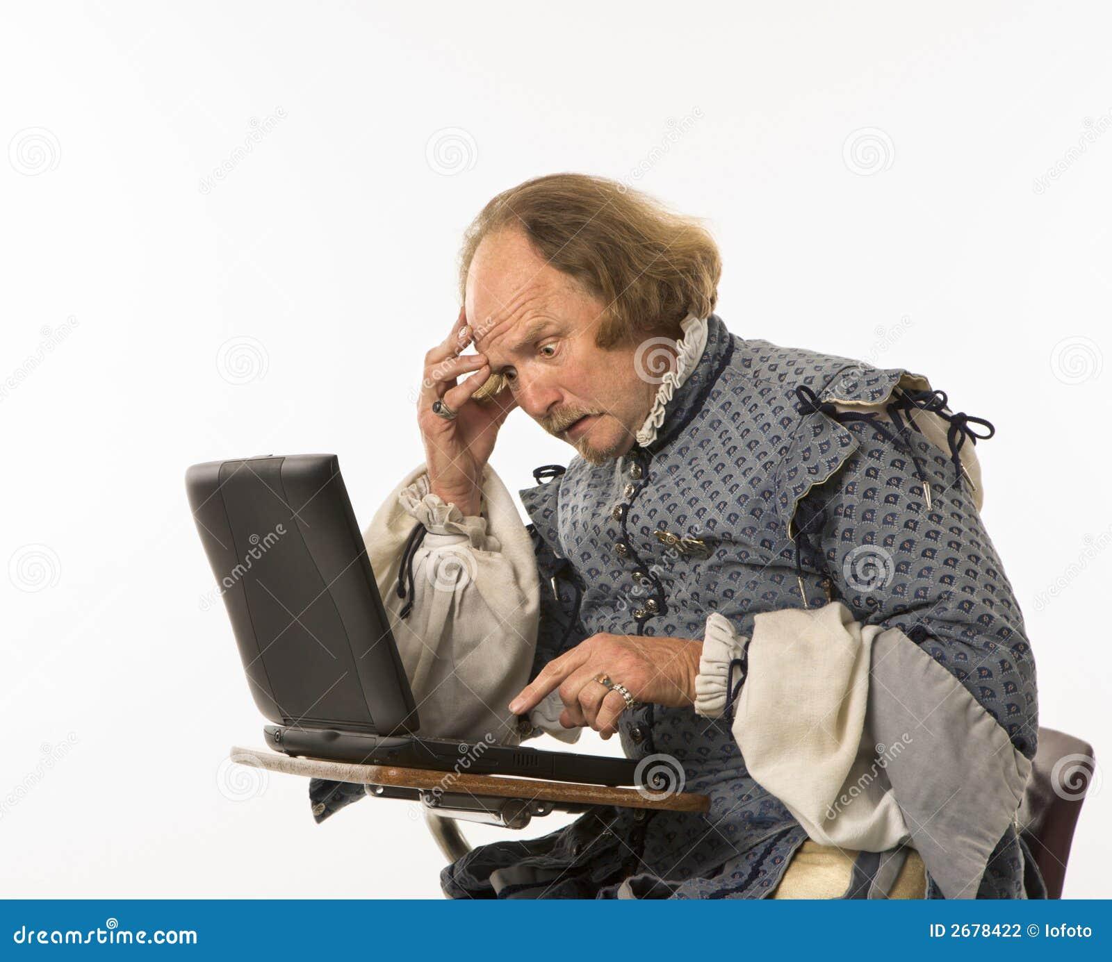 Shakespeare die laptop met behulp van.
