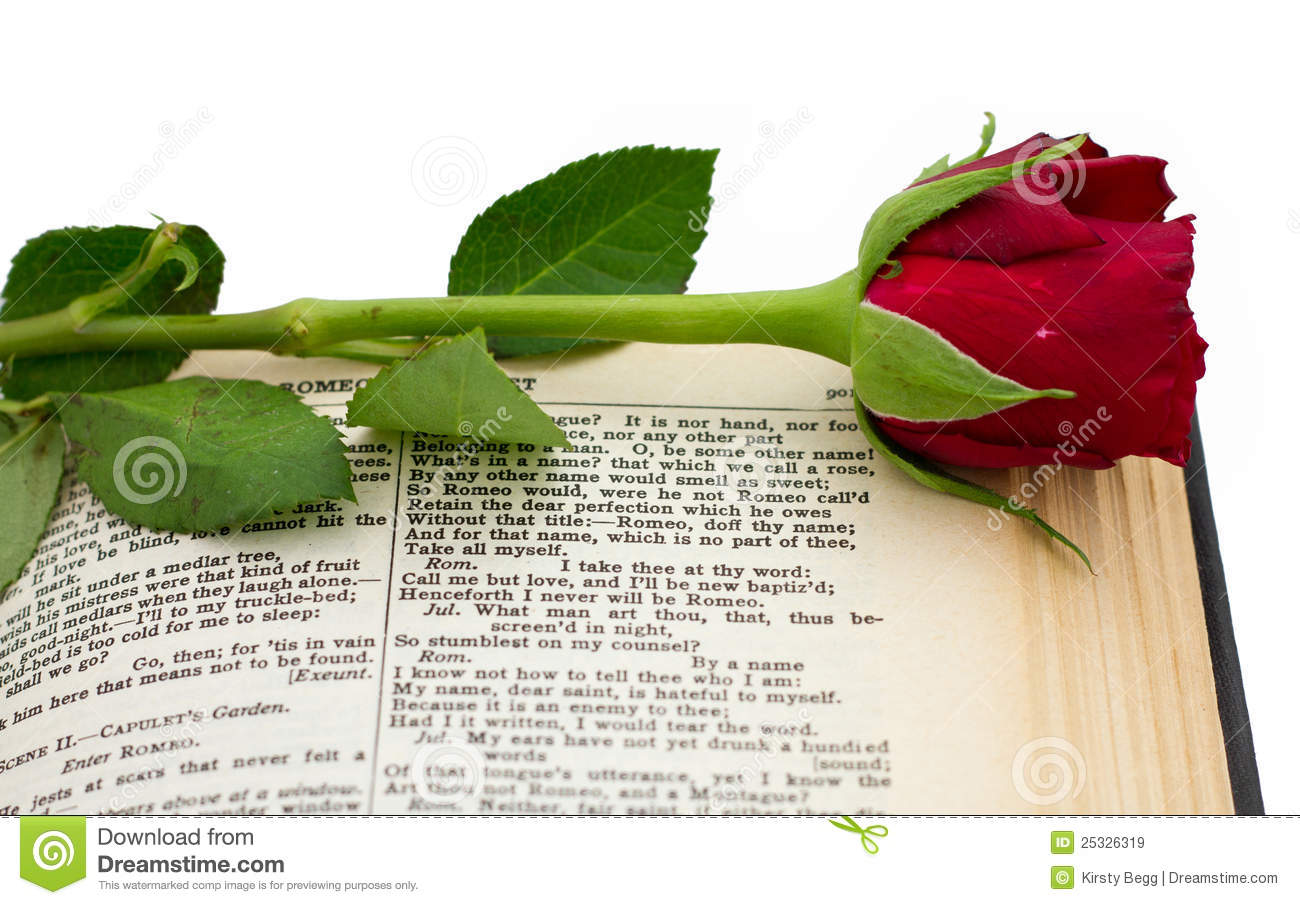 Shakespeare Romeo Juliet Red Rose Stock Image Image Of Literature