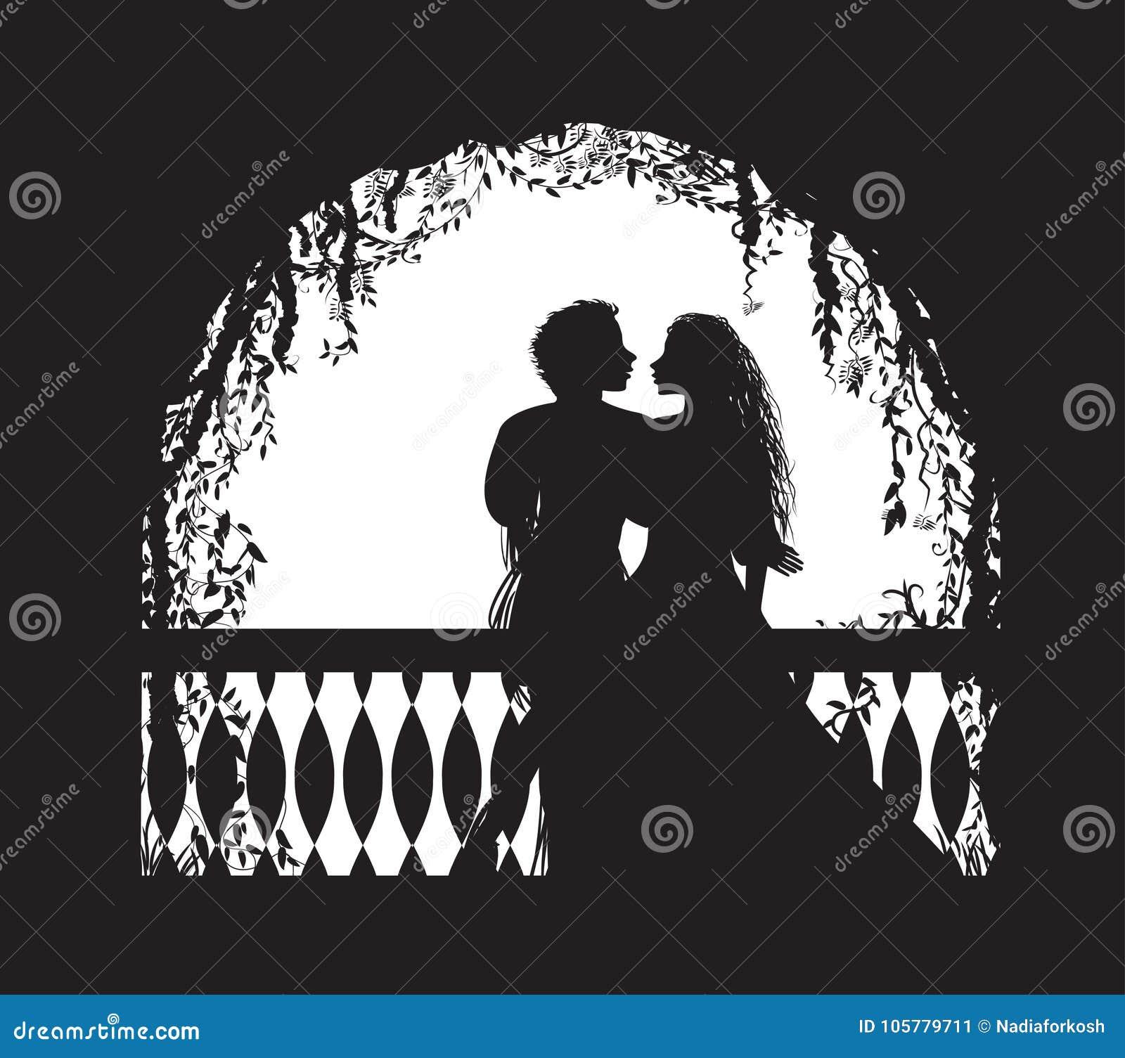 Shakespeare s lekcharmör och Juliet på balkongen, romantiskt datum, kontur, kärlekshistoria,