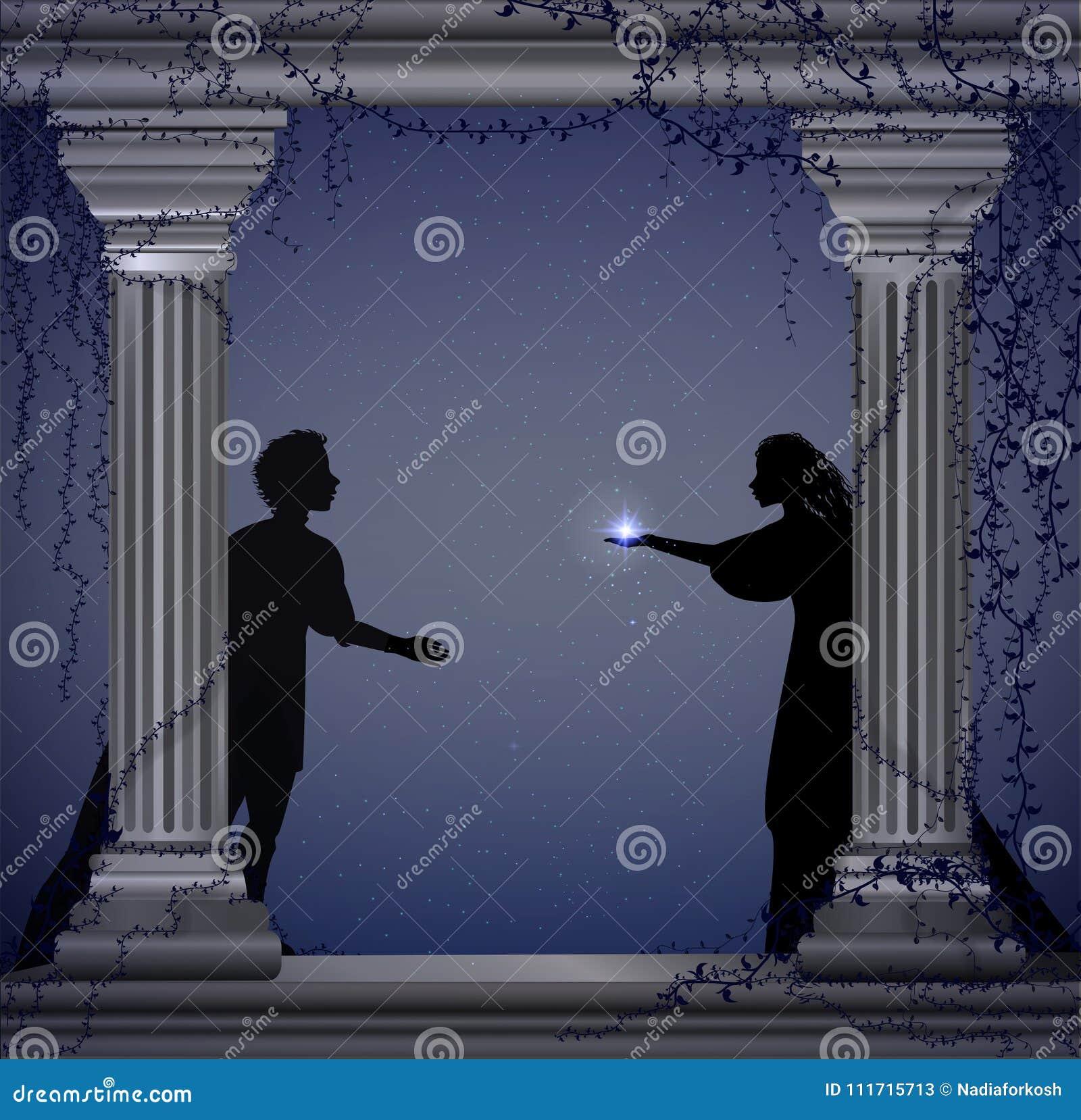 Shakespeare s lekcharmör och Juliet på natten, romantiskt datum, kontur, kärlekshistoria,