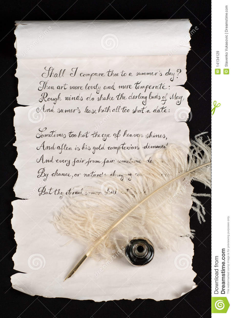 shakespeare s sonnet stock image image of elegance  shakespeare s sonnet 18