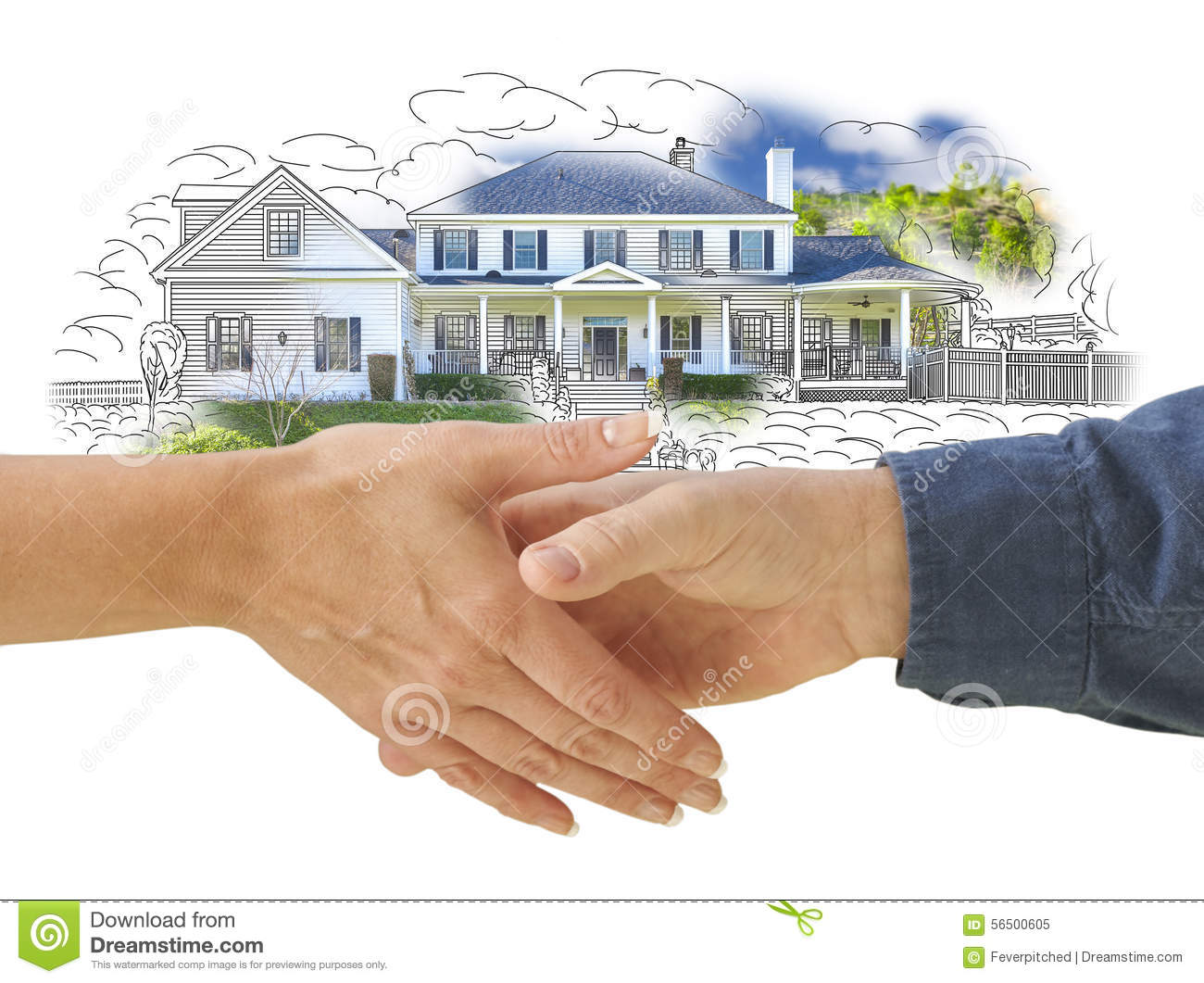 Shaking hands in front of new house drawing photo for Shakes on house