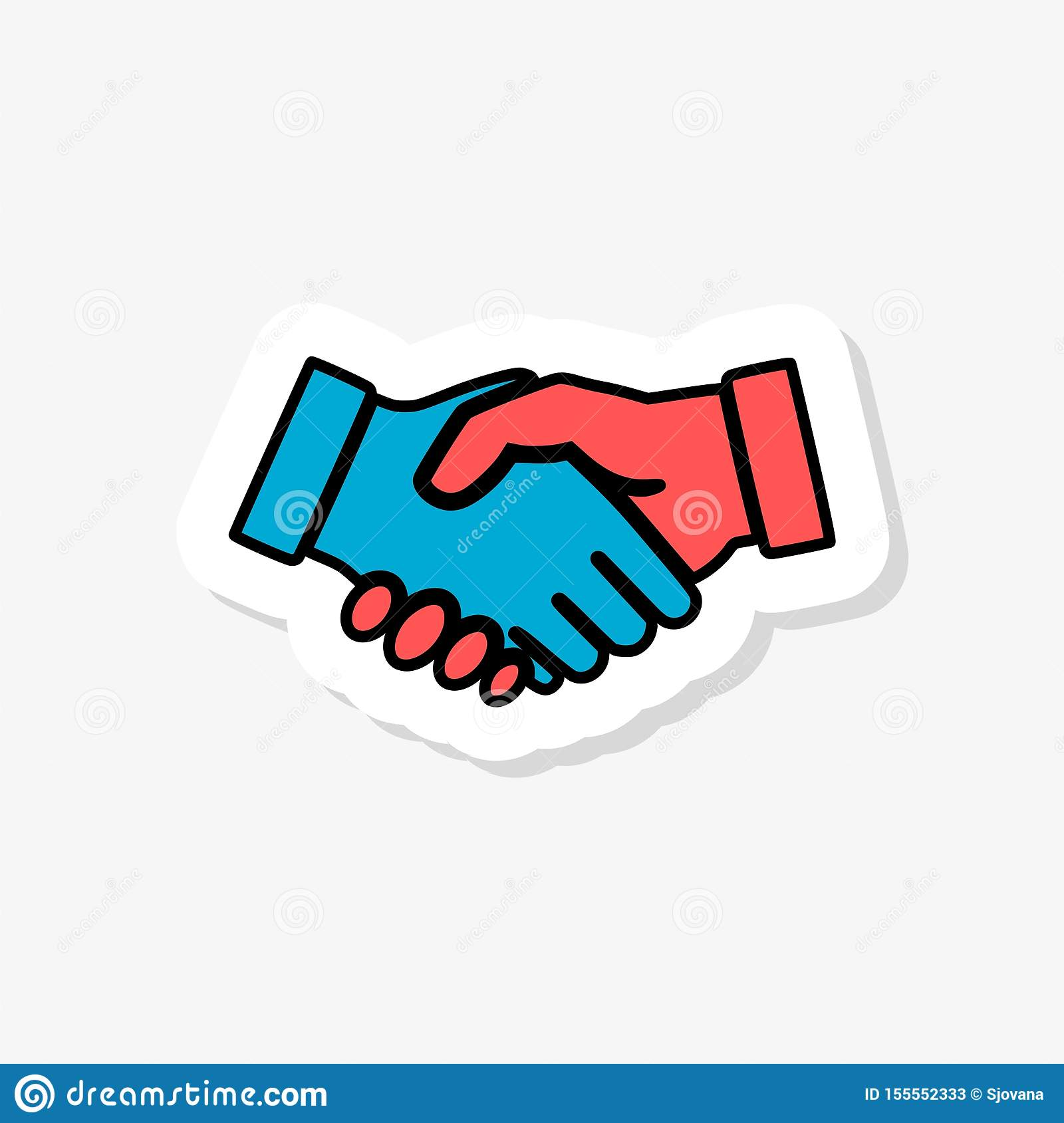 Shaking hands sticker icon isolated on white background. Shaking hands icon simple sign