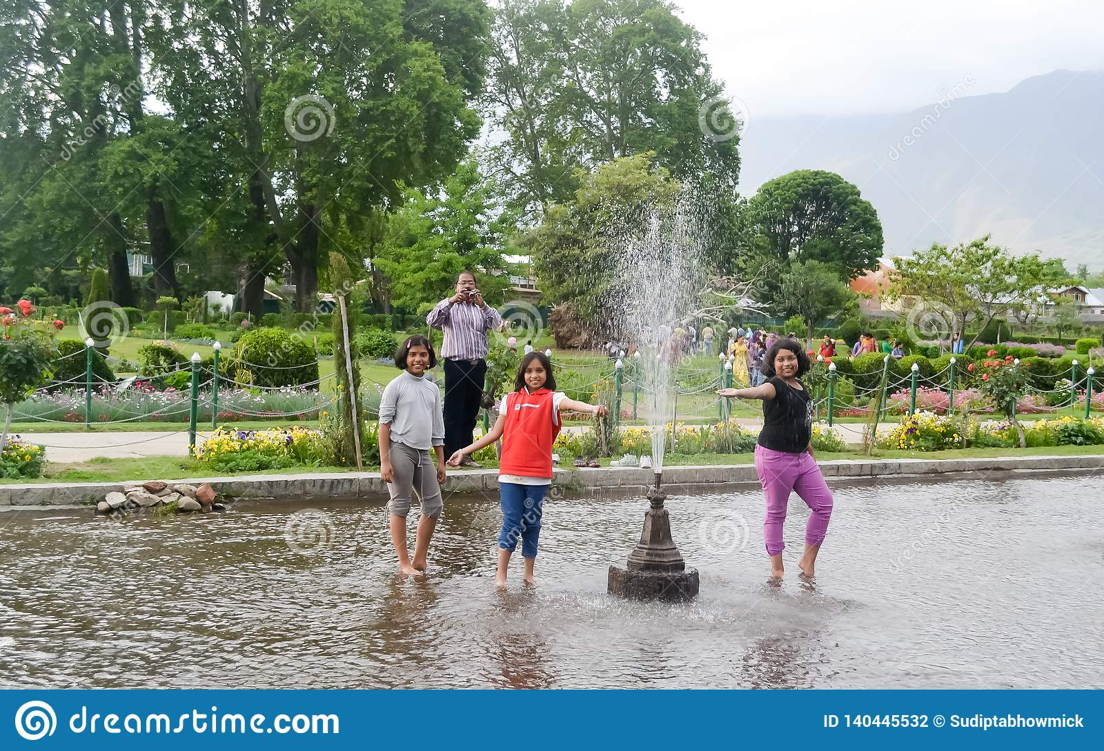 Shalimar Bagh, Mughal garden, January 10 2019: Kids enjoing the Water Show