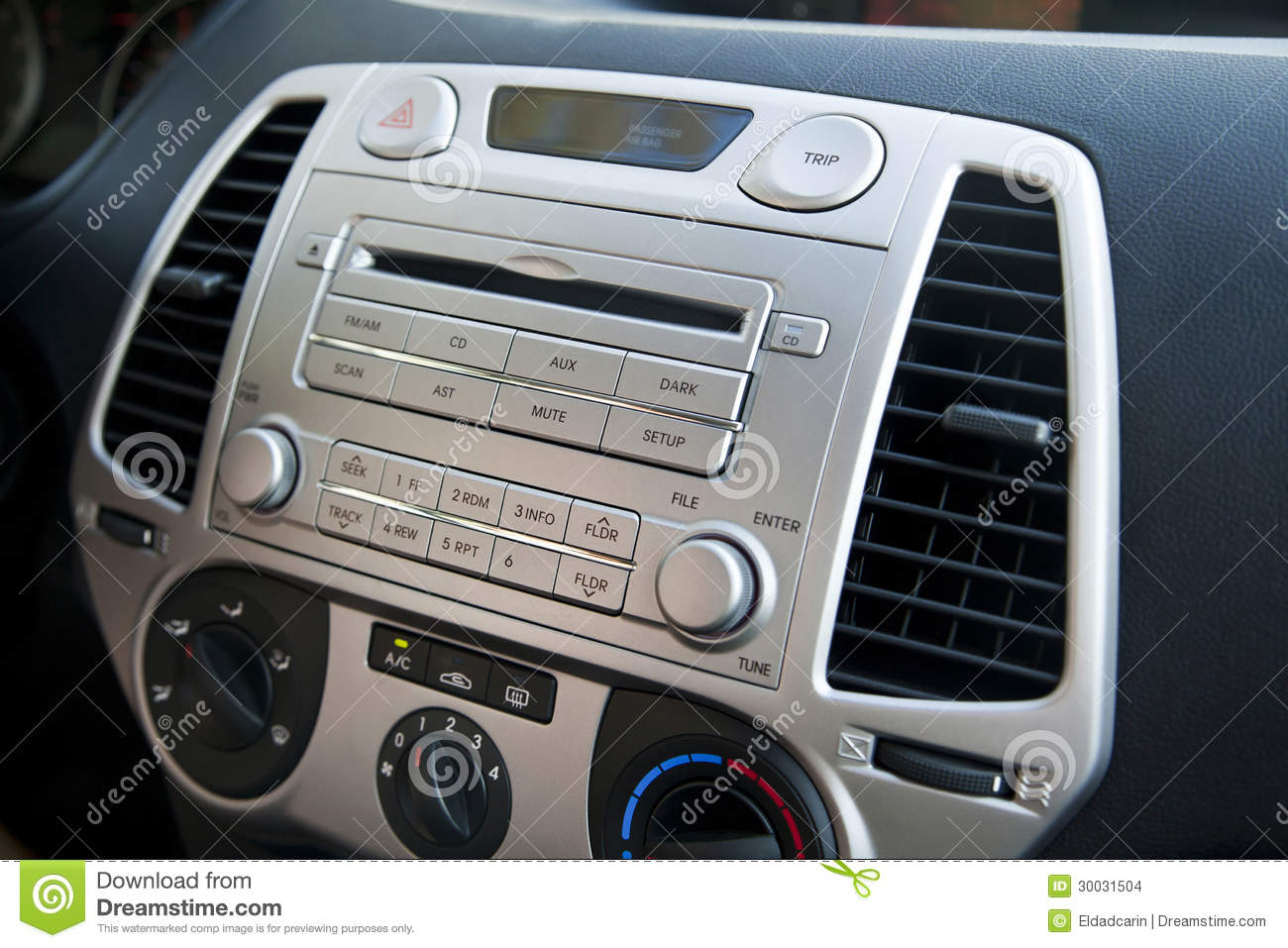 Vehicle Control Panel : Car stereo air conditioning controls stock images