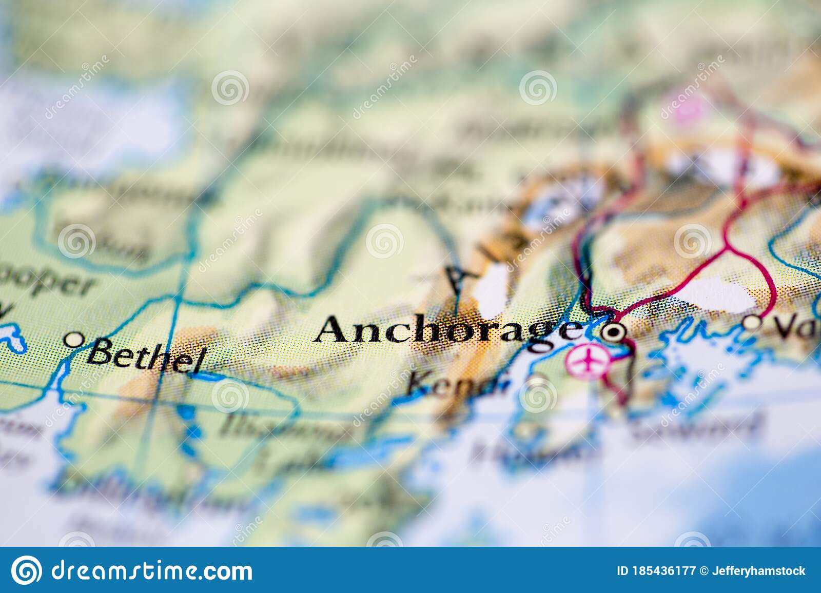 Picture of: Shallow Depth Of Field Focus On Geographical Map Location Of Anchorage City United States Of America Usa Continent On Atlas Stock Image Image Of Guide Journey 185436177