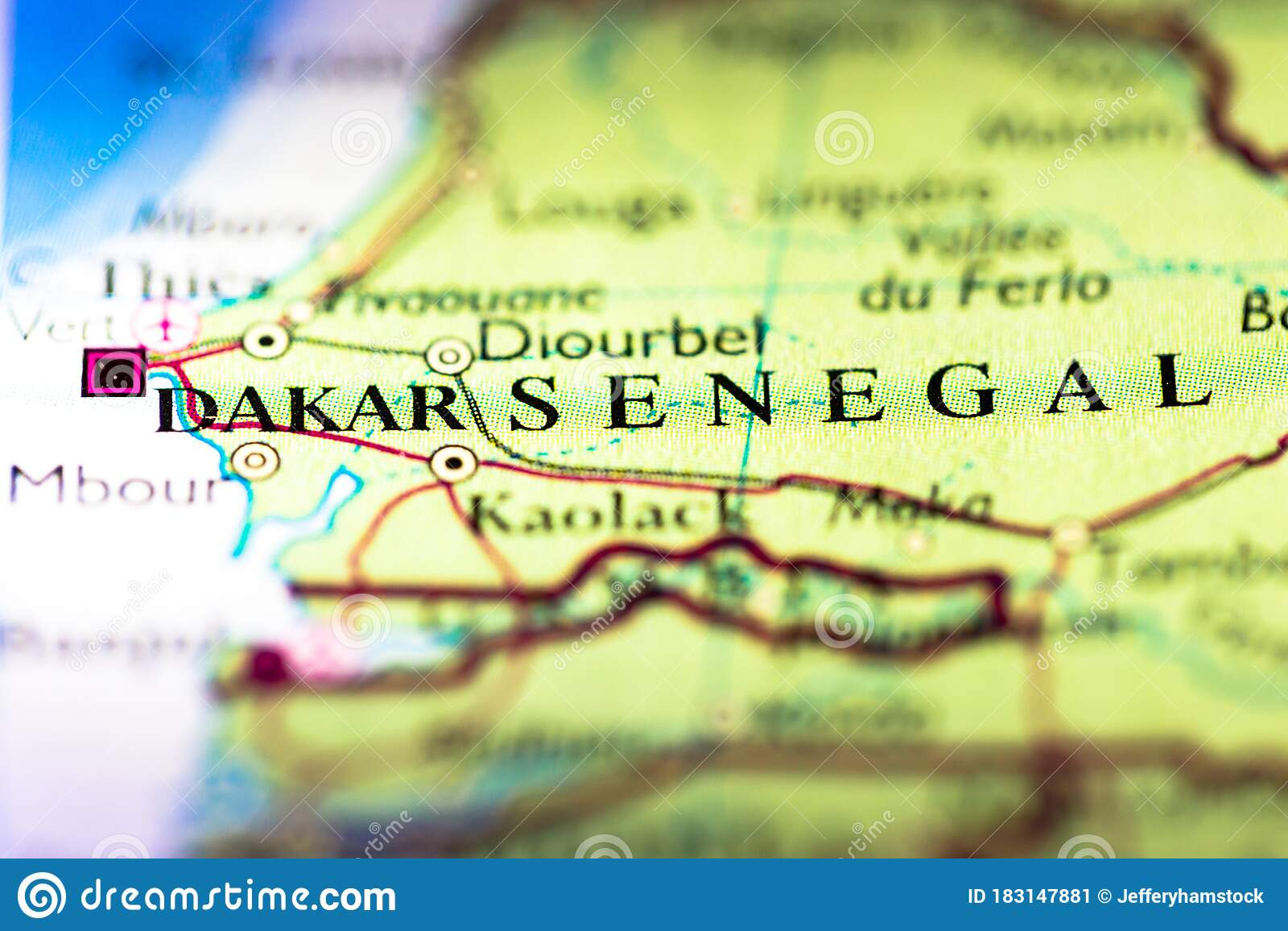 Image of: Shallow Depth Of Field Focus On Geographical Map Location Of Dakar City In Senegal Africa Continent On Atlas Stock Image Image Of Discovery Direction 183147881