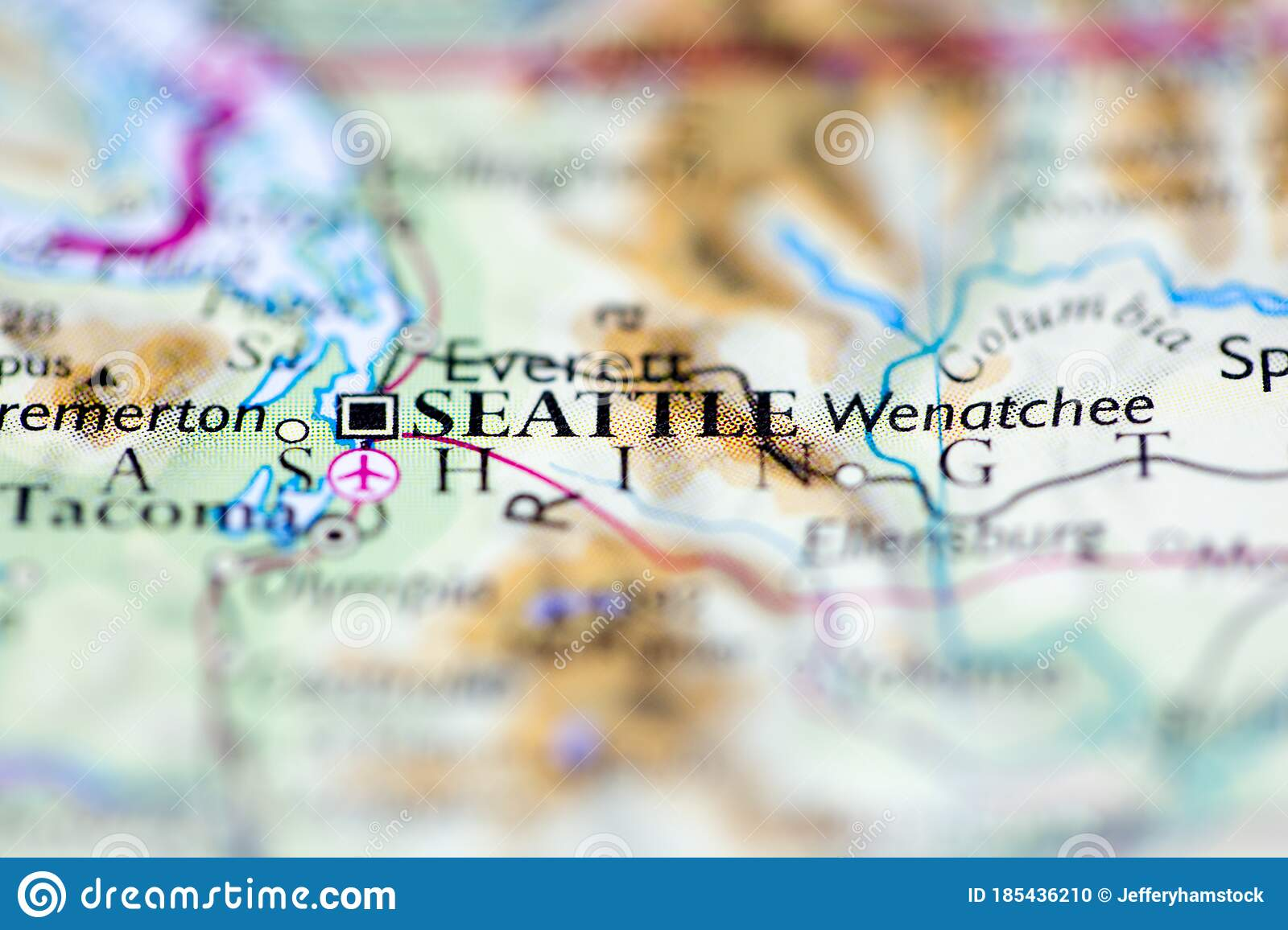 Picture of: Shallow Depth Of Field Focus On Geographical Map Location Of Seattle City United States Of America Usa Continent On Atlas Stock Photo Image Of Destination Exploration 185436210