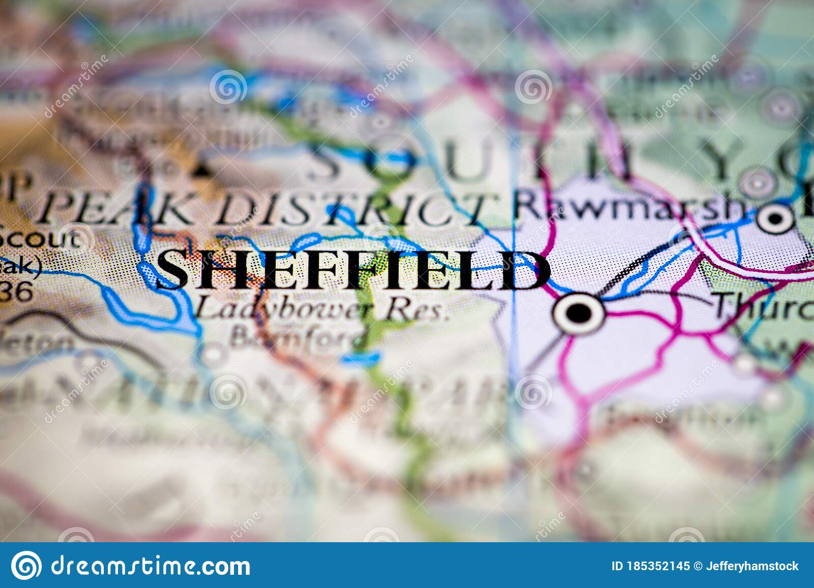 Picture of: Shallow Depth Of Field Focus On Geographical Map Location Of Sheffield City England United Kingdom Great Britain Europe Continent Stock Image Image Of Globe Guide 185352145