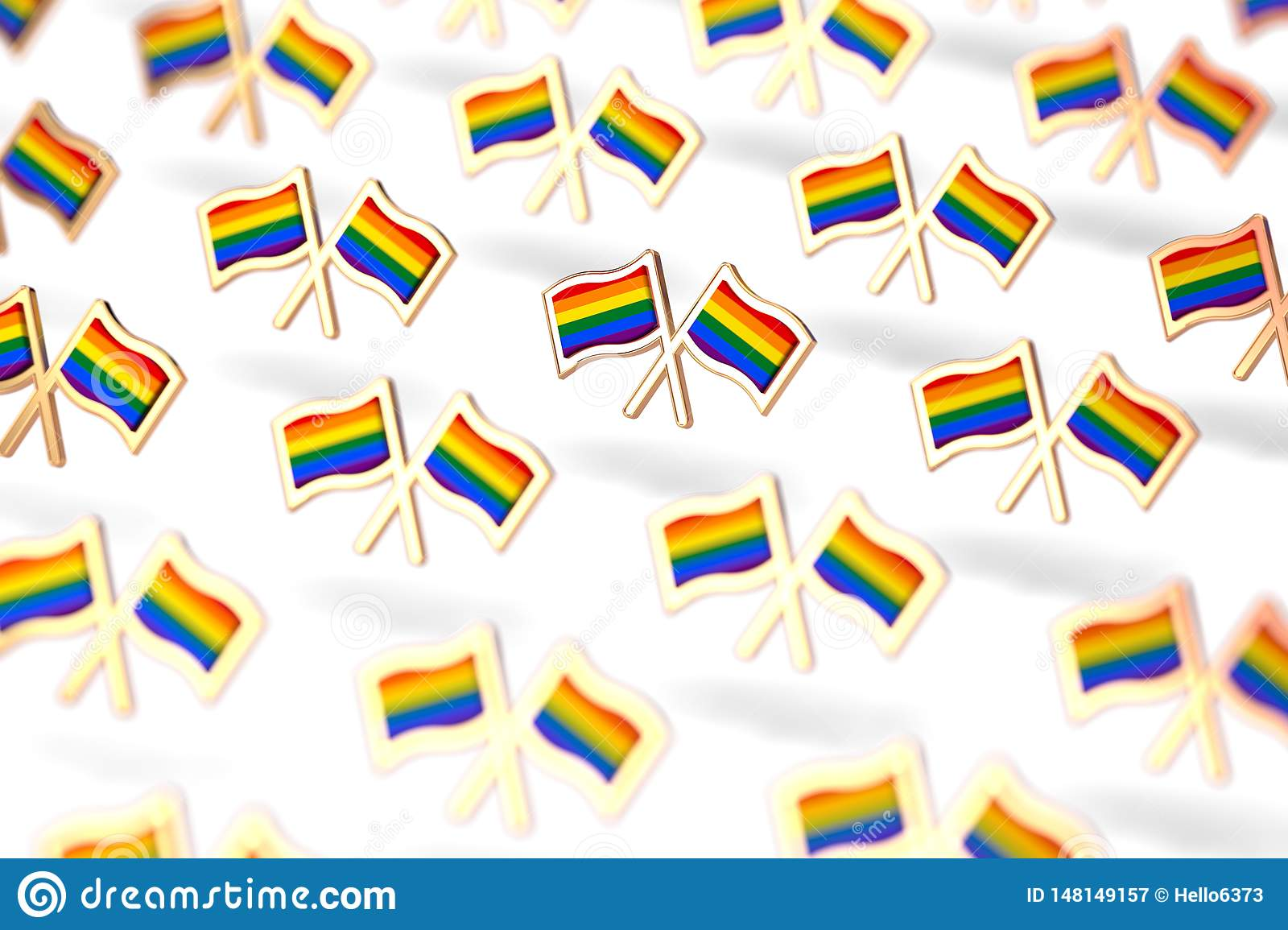 Shallow DOF focus on Rainbow LGBTQ flags group. Gay pride month symbol concept. on white background. 3D rendering