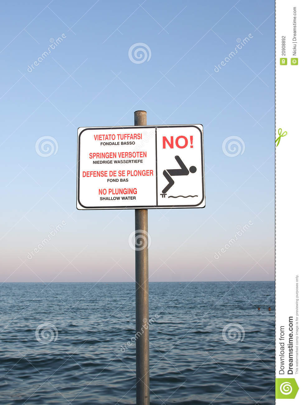 shallow water sign stock photography