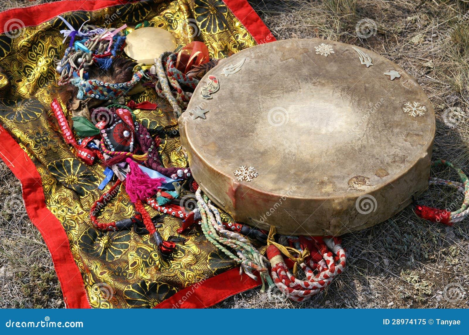 Shaman Tambourine And Mirror Stock Image Image Of Steppe