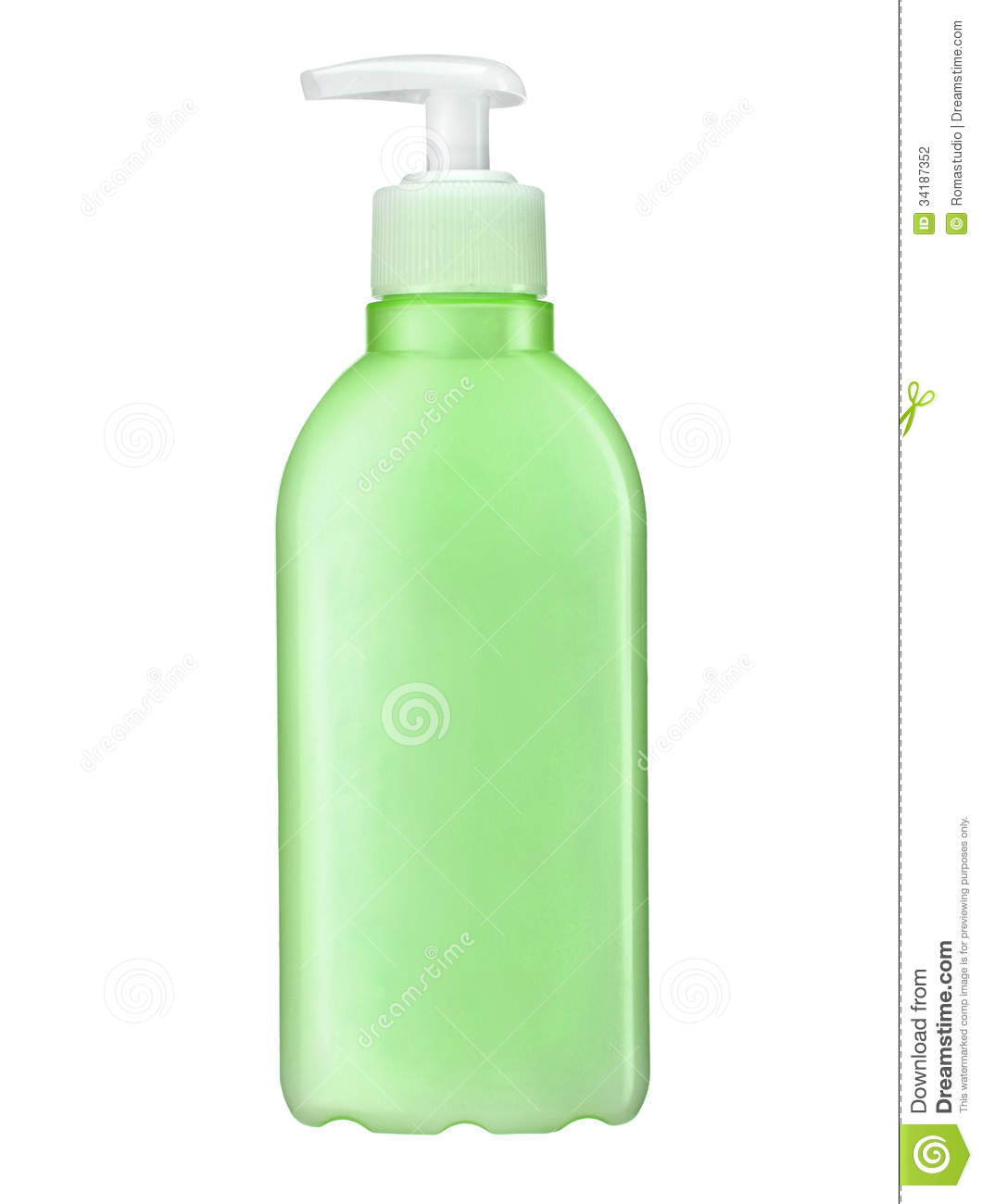 ... of green plastic bottle with pump - isolated on white background
