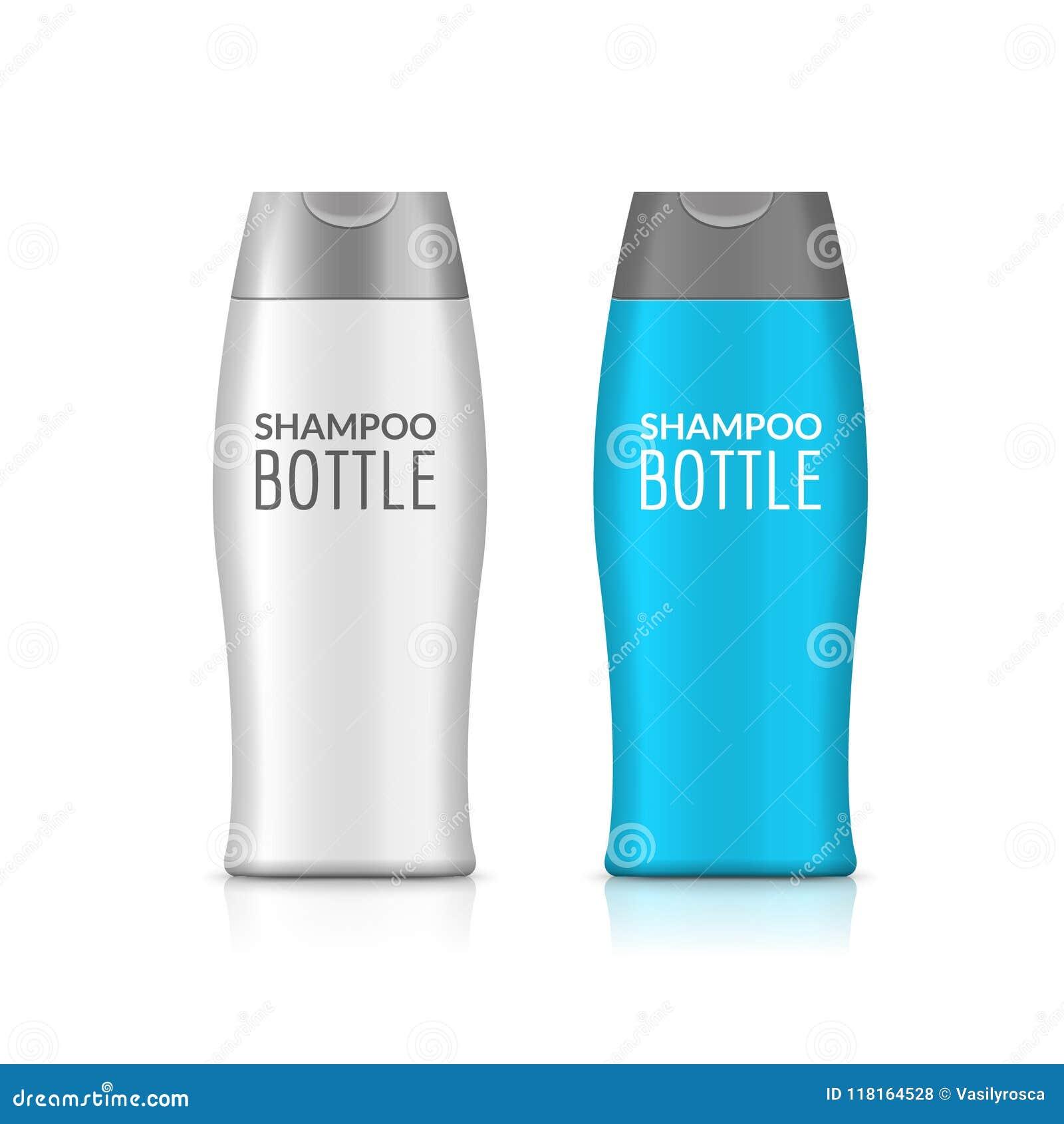 Shampoo plastic fles of de flessenmalplaatjeontwerp van het douchegel Vector lege spot omhoog Room of lotionbadzorg