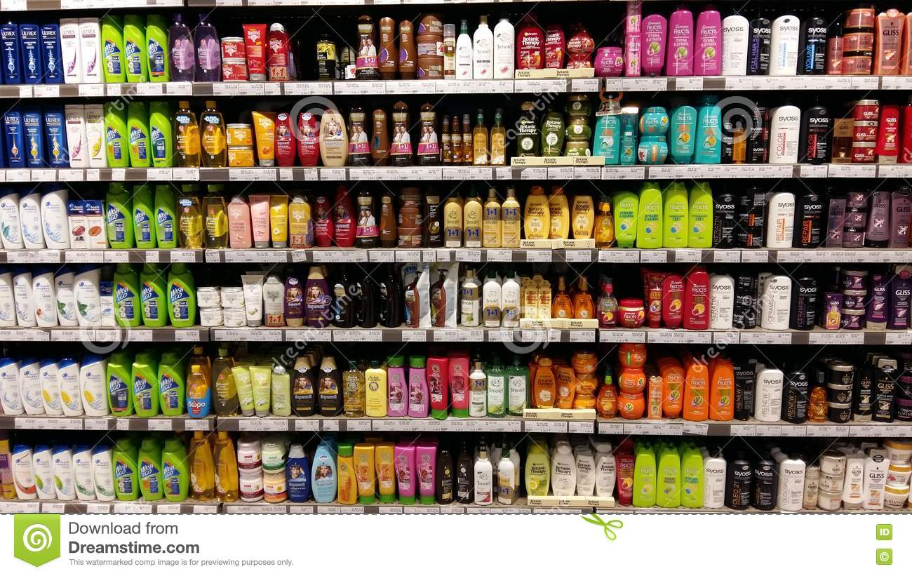 Shampoo Shelves In Supermarket Editorial Photography Image
