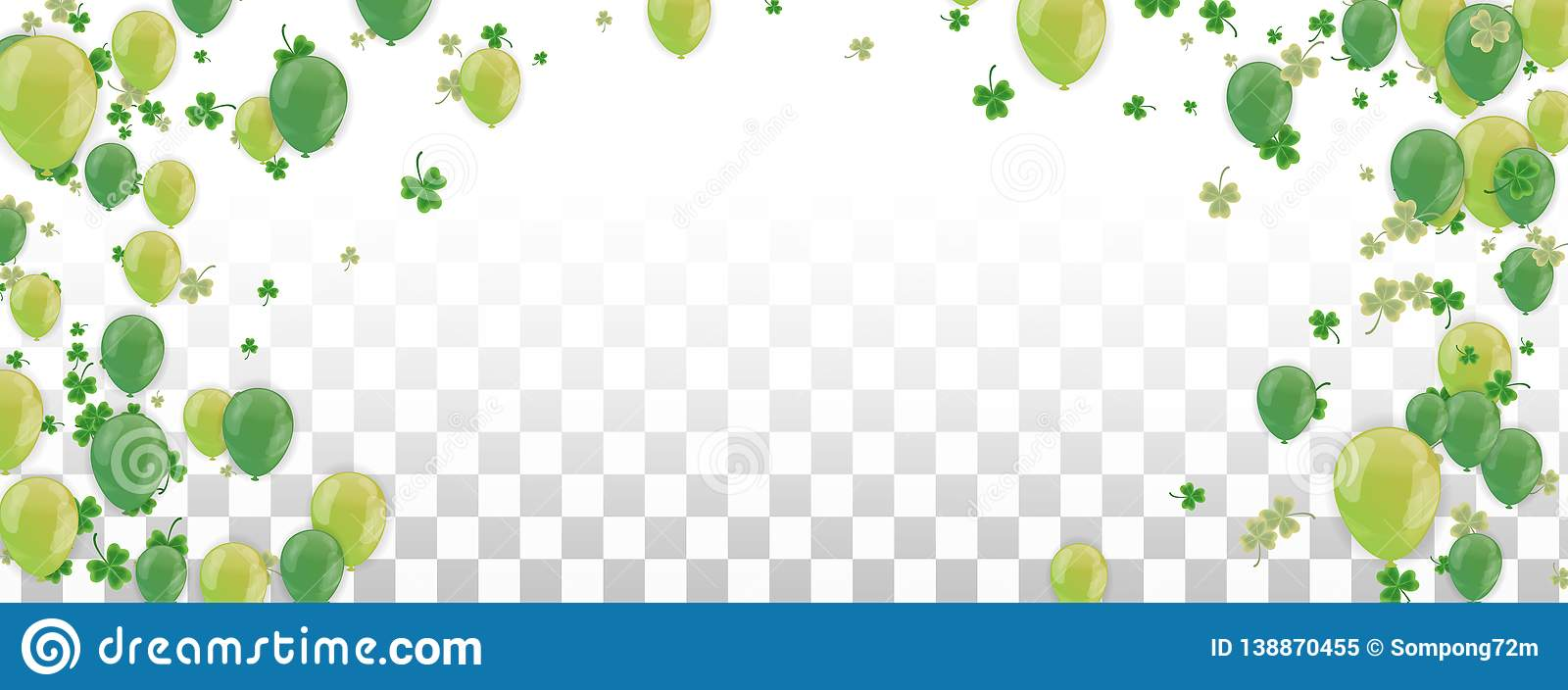 Shamrock and balloons green vector Illustration of a St. Patrick`s Day Background