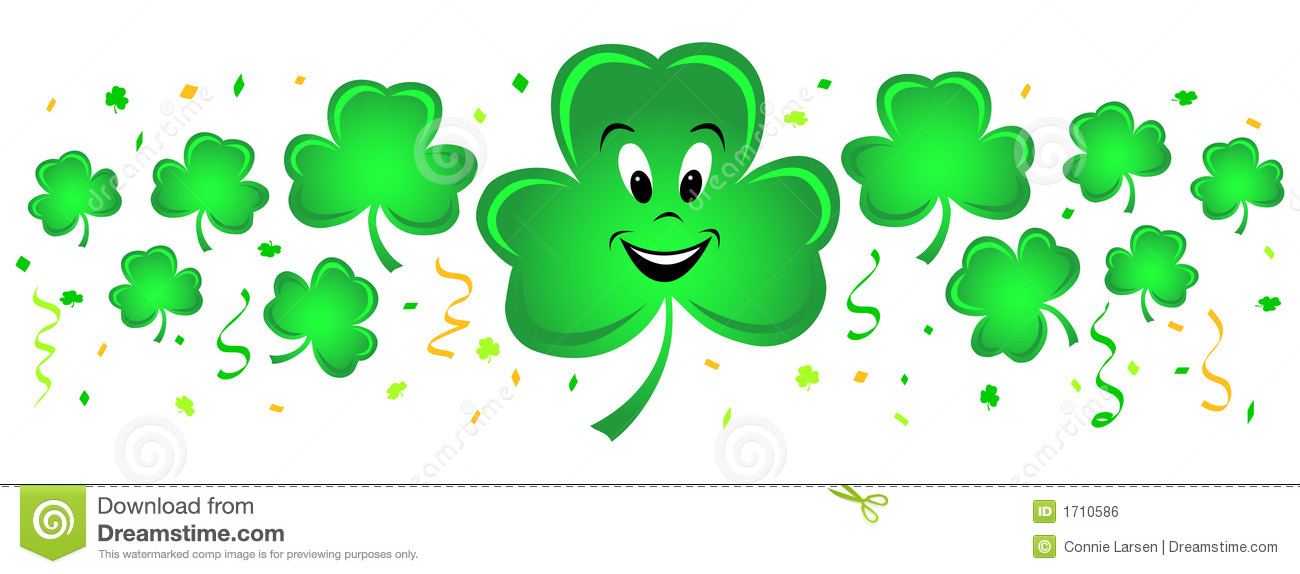 Illustration of a horizontal group of shamrocks and matching confetti ...