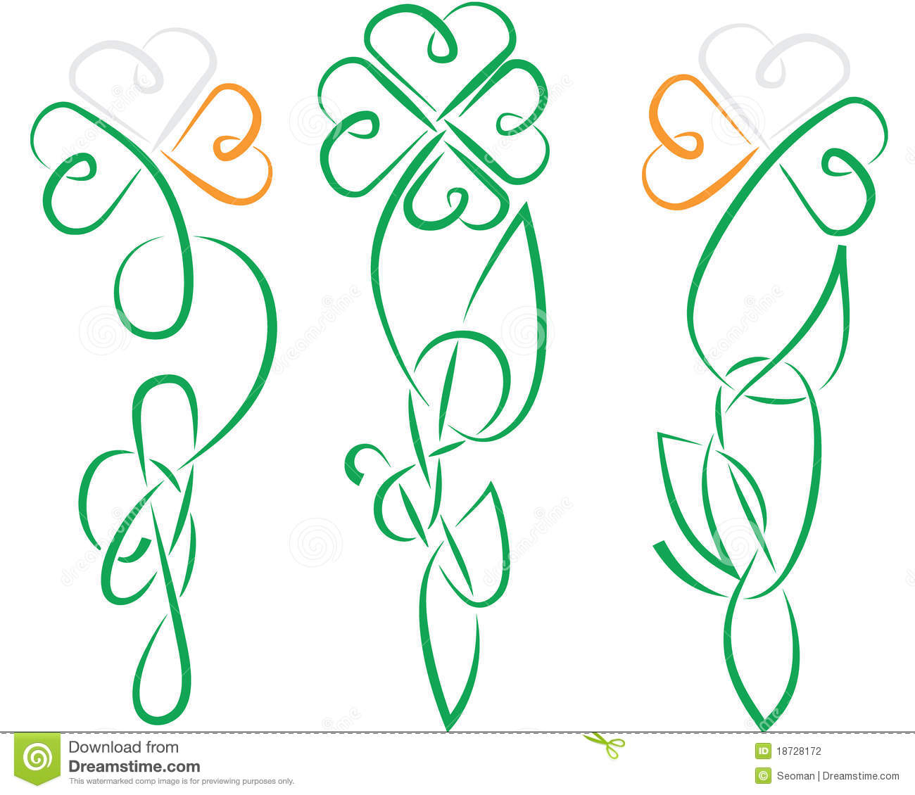 The shamrock have been made in ancient Ireland or Celtic knot styleall ...