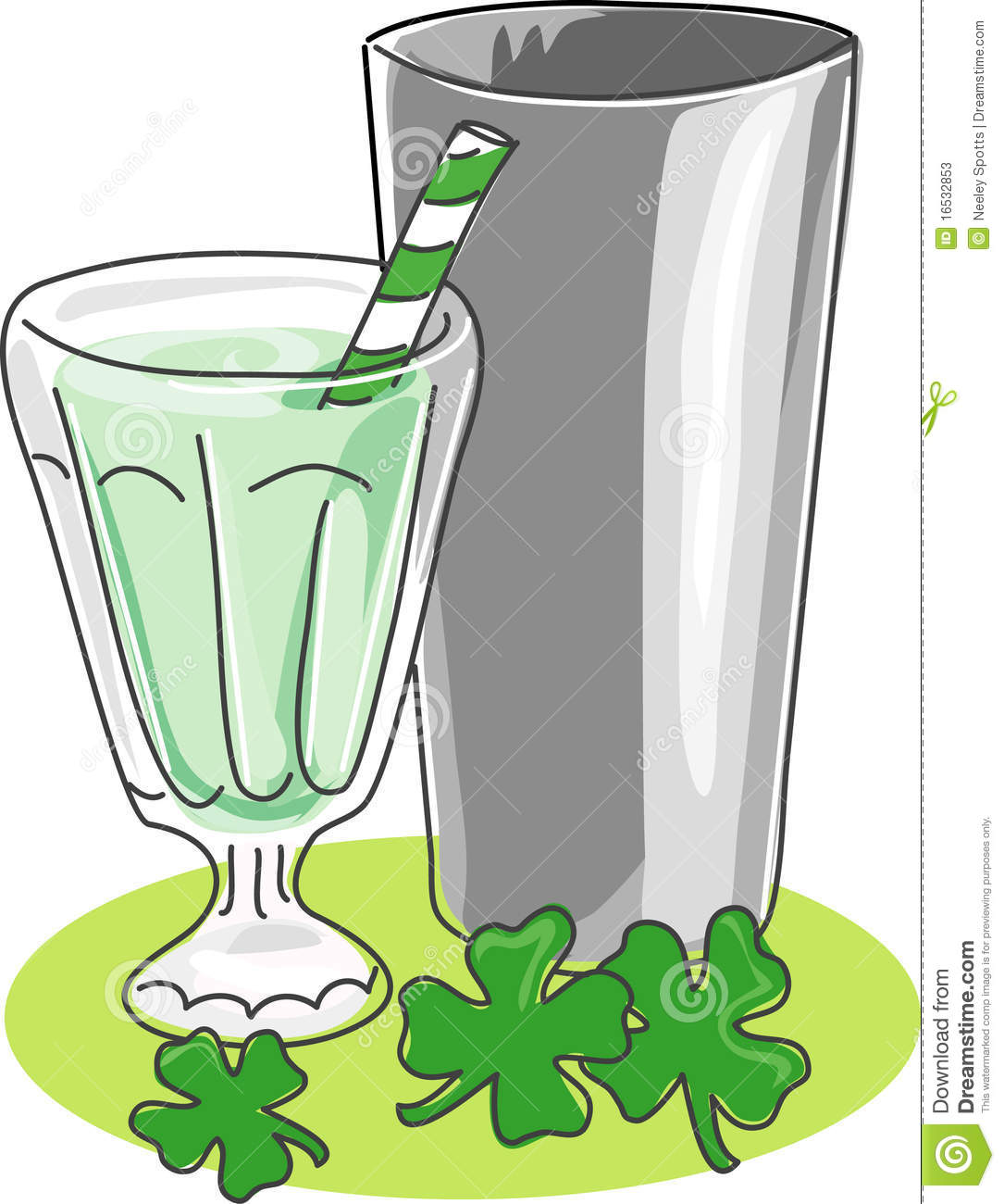 stylized sketch of a milkshake in a soda glass with stainless steel ...