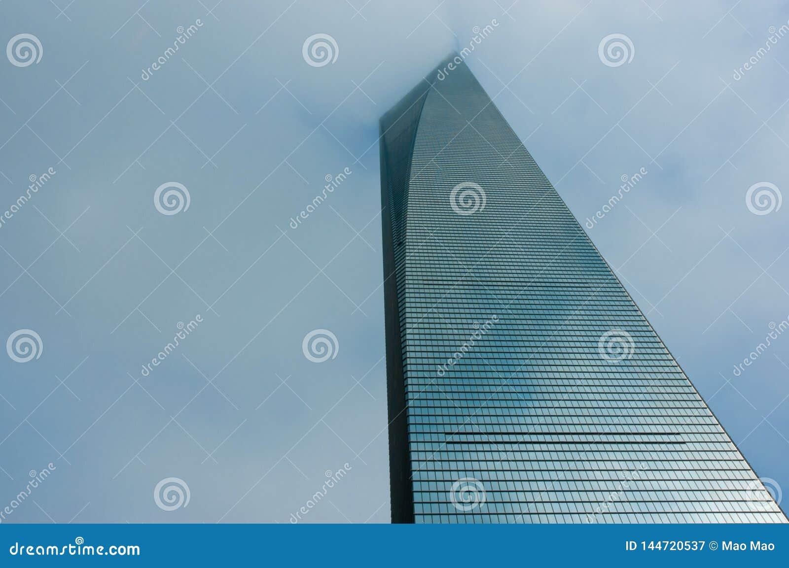 Shangai, China, el 26 de julio de 2014: Paisaje de centro financiero de los rascacielos de mundo, Shangai