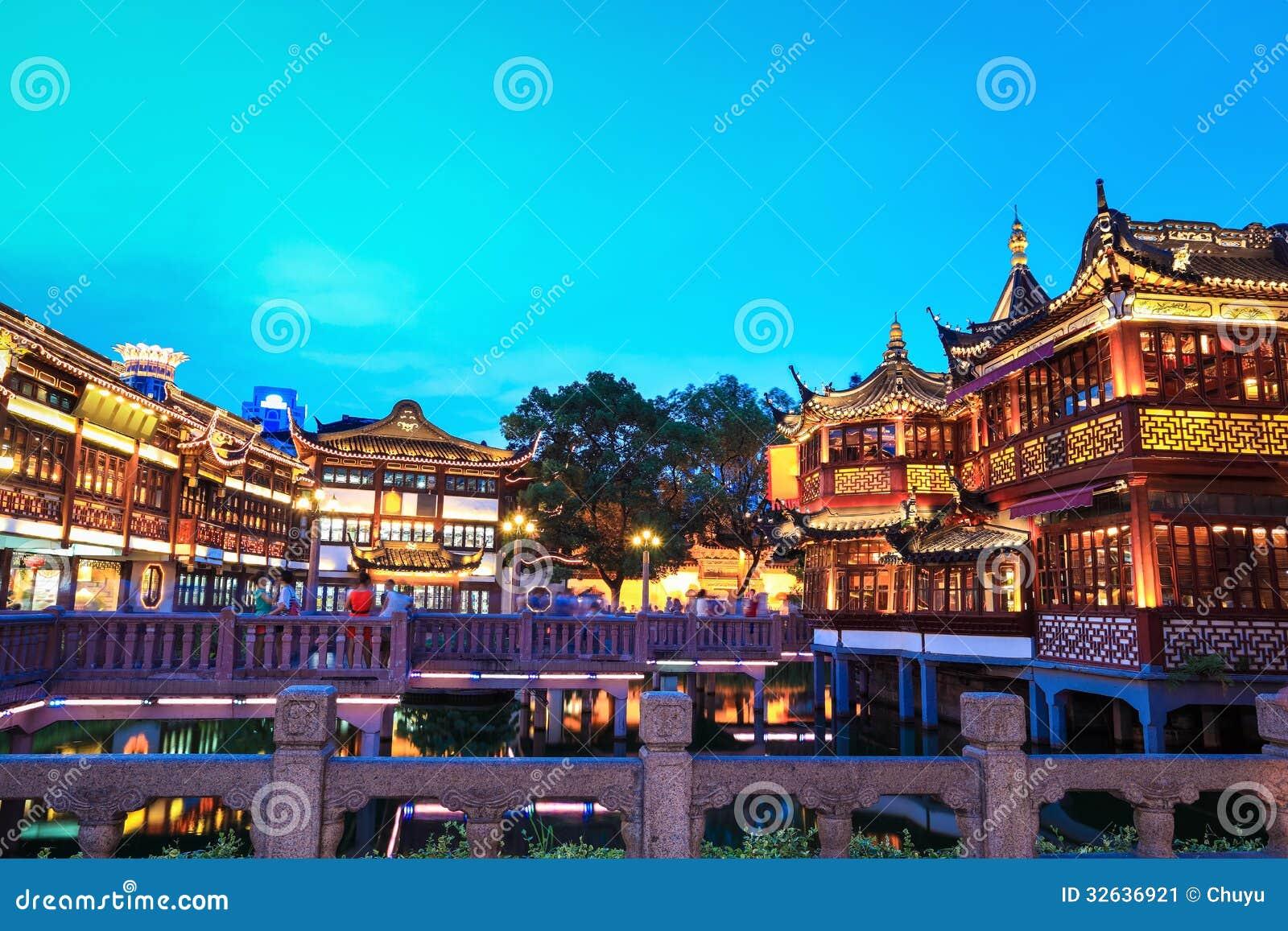 Shangai yuyuan en la oscuridad
