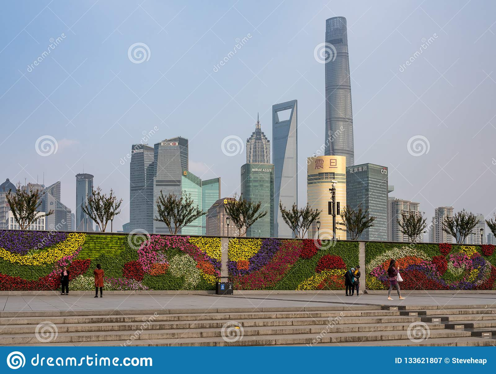Floral Wall Garden With Downtown Shanghai Skyline Editorial
