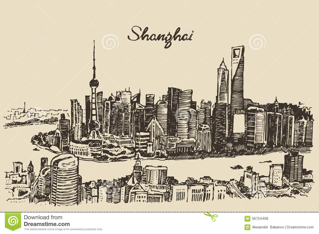 Shanghai City Architecture China Vintage Sketch Stock