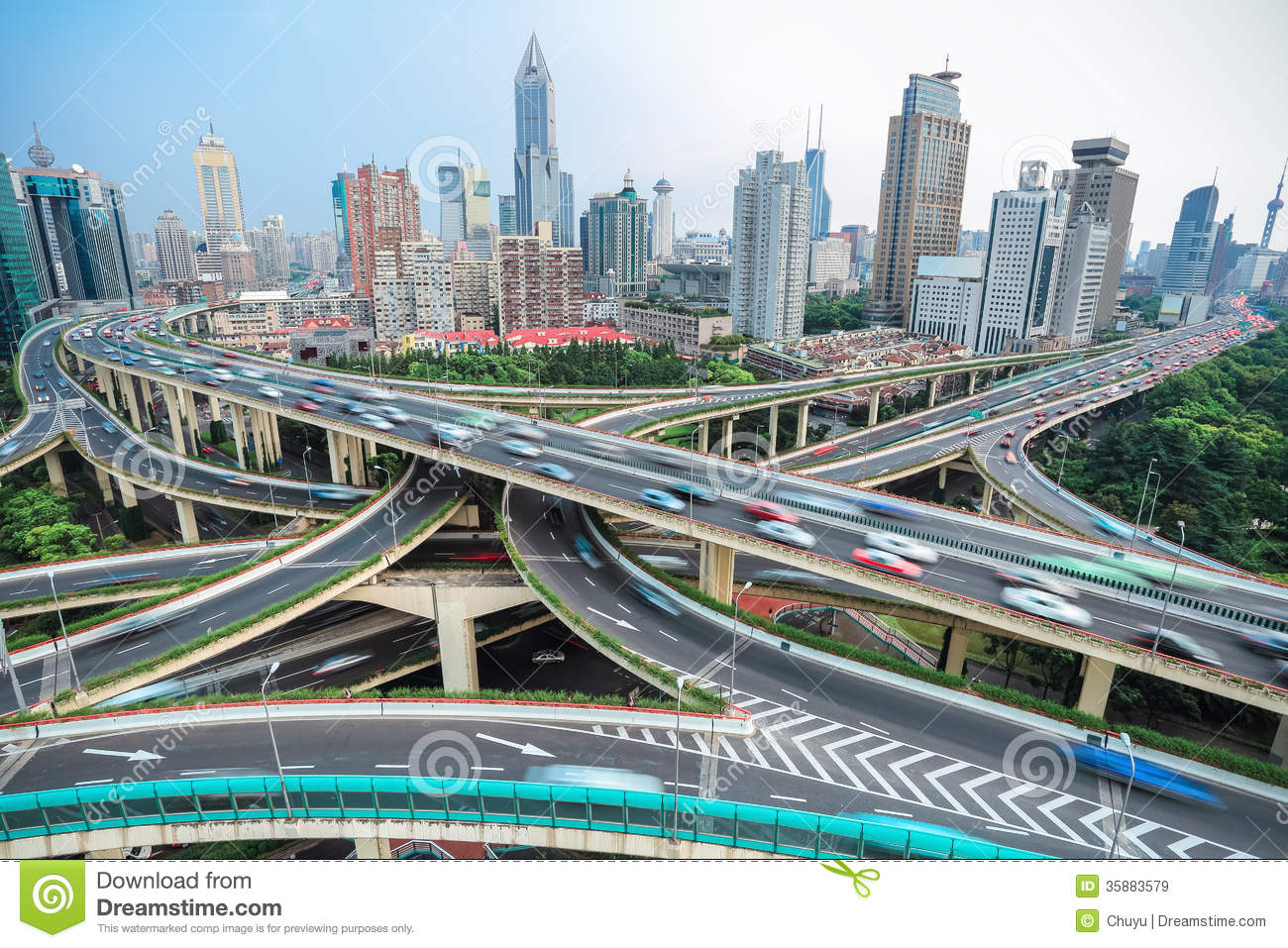 Shanghai Elevated Road Junction And Interchange Overpass Royalty Free Stock Images Image 35883579