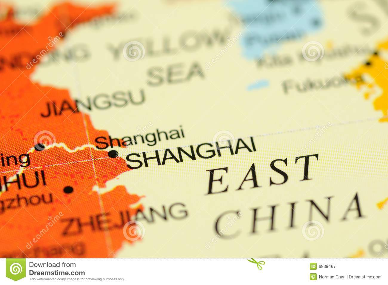 Shanghai on map stock image. Image of world, asia, city - 6838467