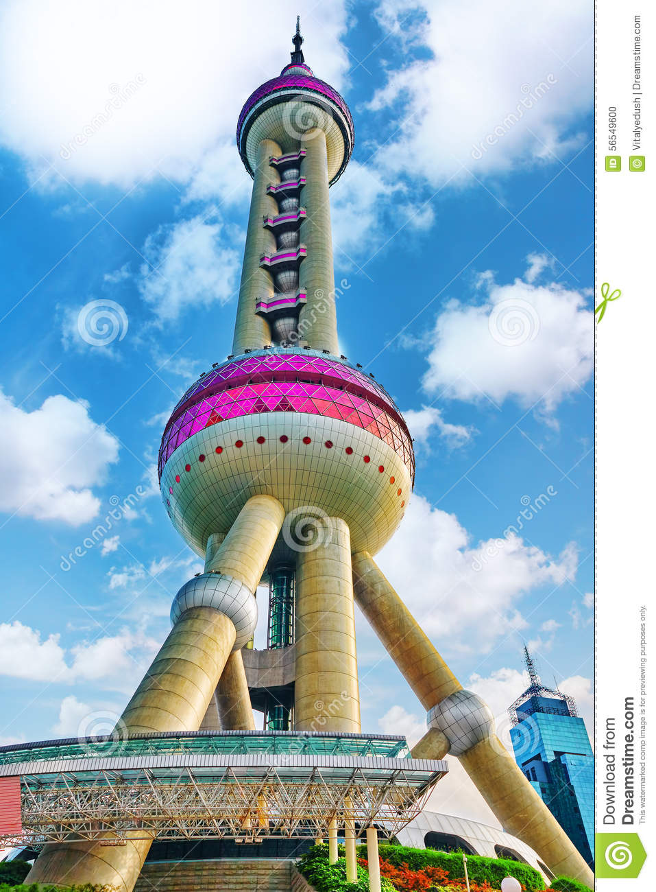 SHANGHAI-MAY 24, 2015. Oriental Pearl Tower on blue sky backgro