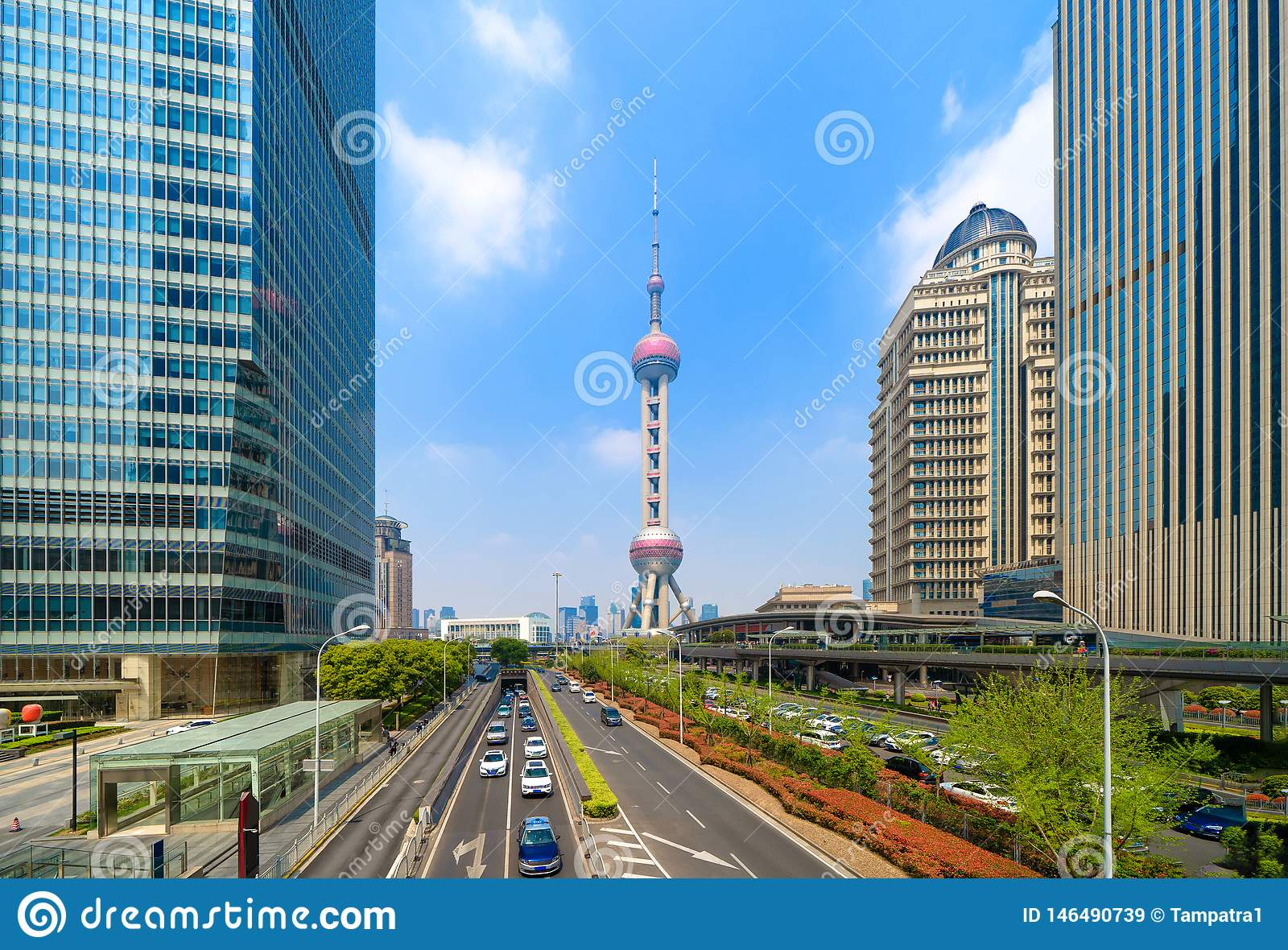 Shanghai Oriental pearl TV tower building in Shanghai Downtown skyline, China. Financial district and business centers in smart
