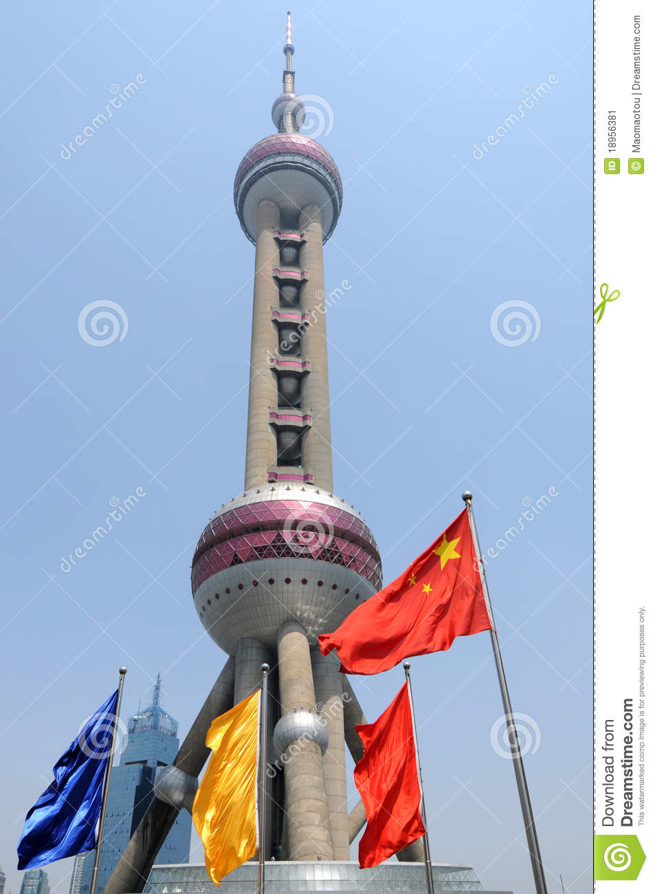 ShangHai Pearl Tower with Chinese National Flag