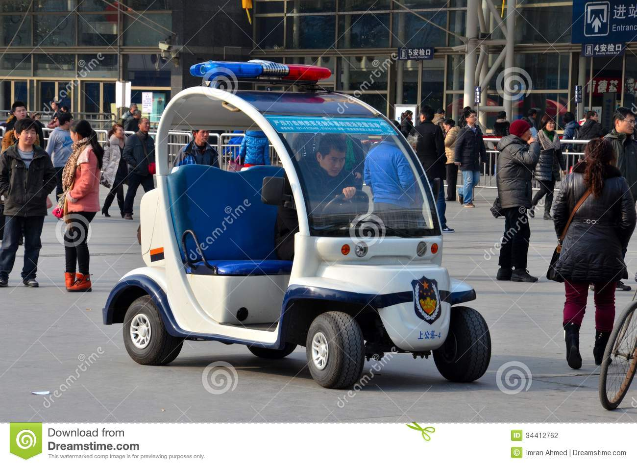 Police Car Web Site >> Shanghai Police Golf Cart Buggy Vehicle Outside Railway Station, China Editorial Photography ...