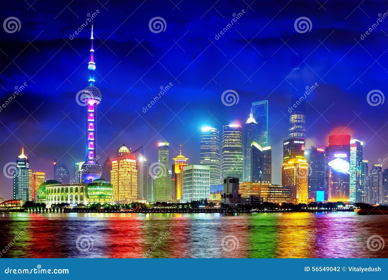 Shanghai Pudong-horizonmening van de Dijk, China