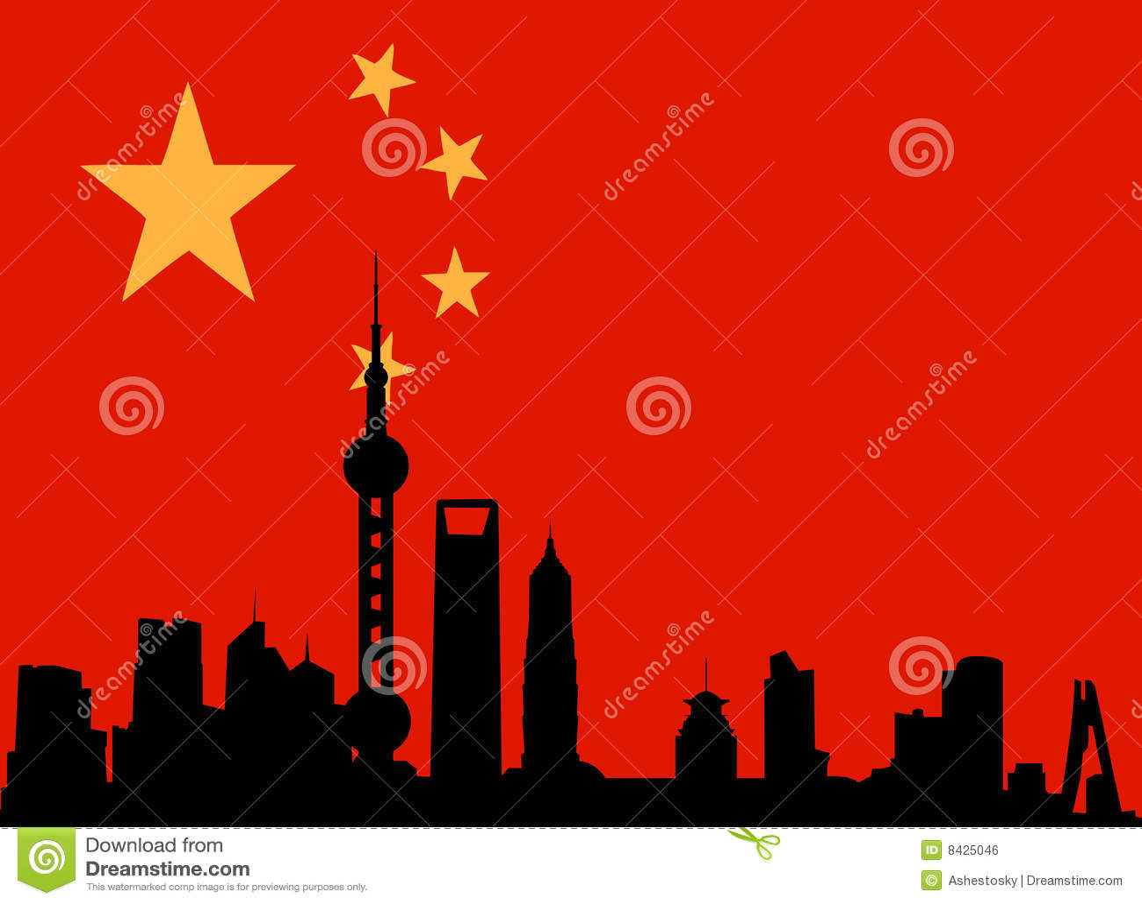 Shanghai skyline with flag of china