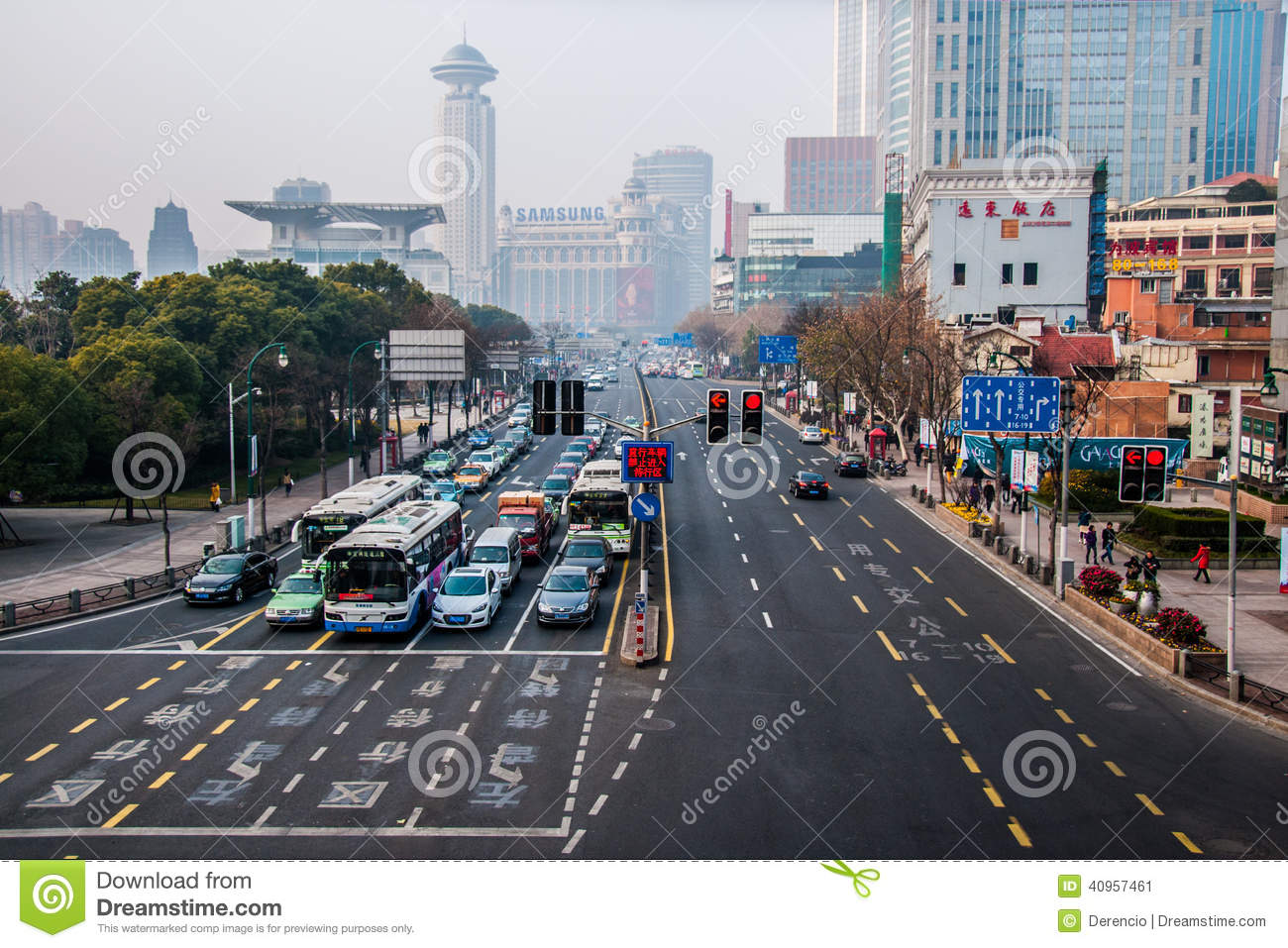 China 2014 Shanghai Center - Standard Street view - Cars on traffic ...
