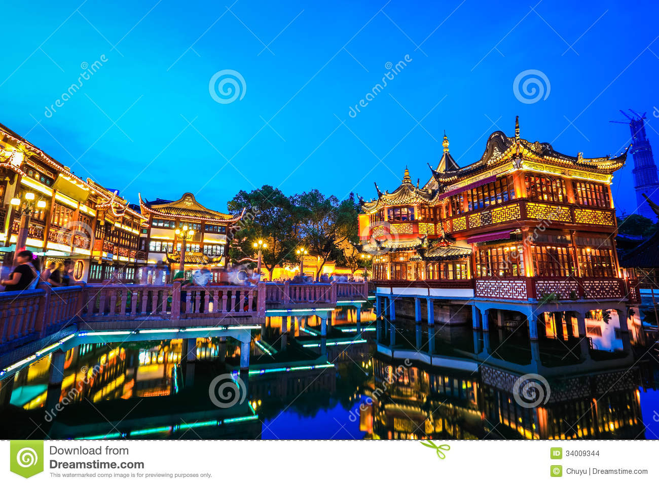 Shanghai Yuyuan Garden At Night Stock Images Image 34009344