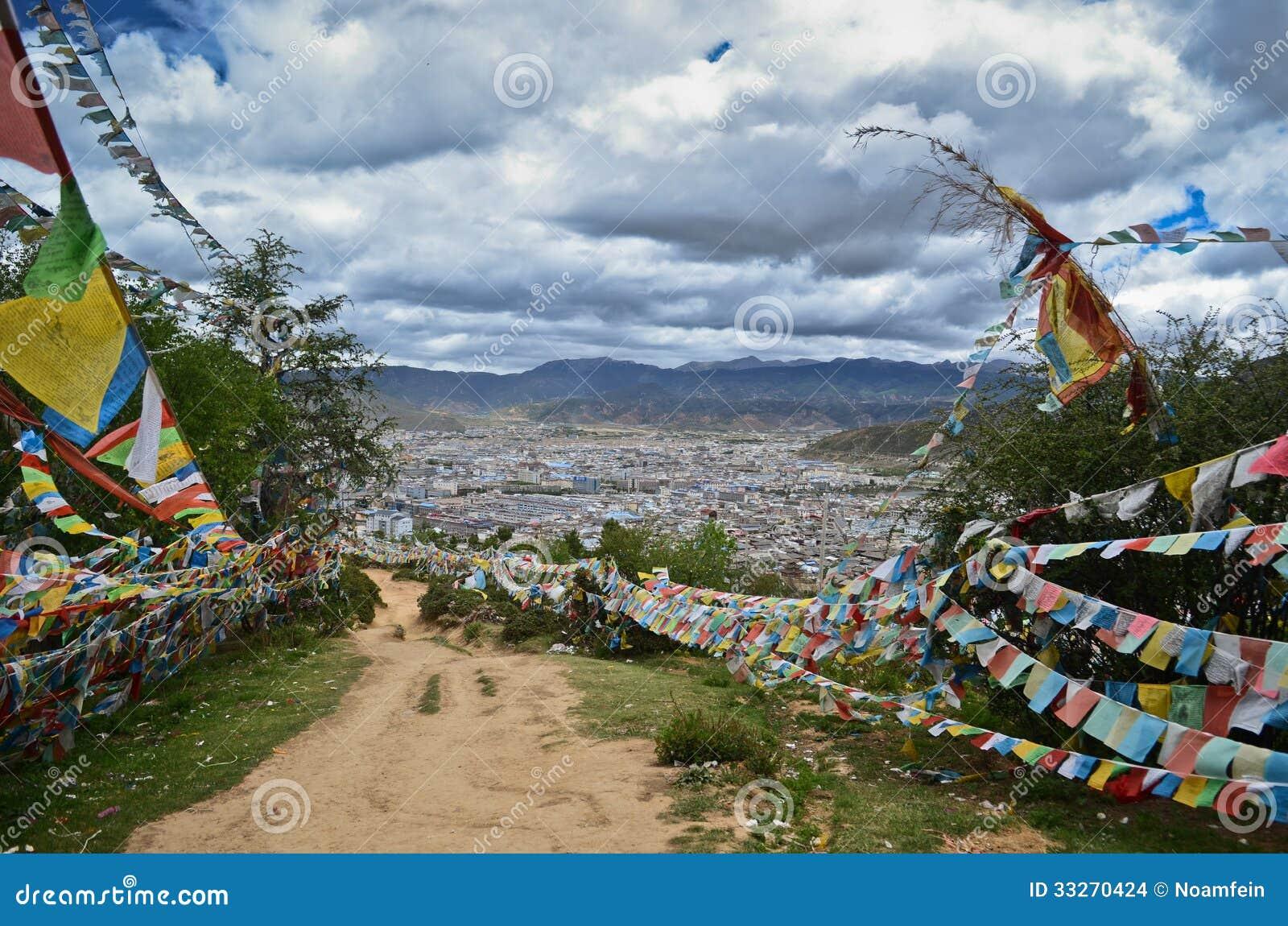 Shangri-La with surrounding mountins, Yunnan,China.