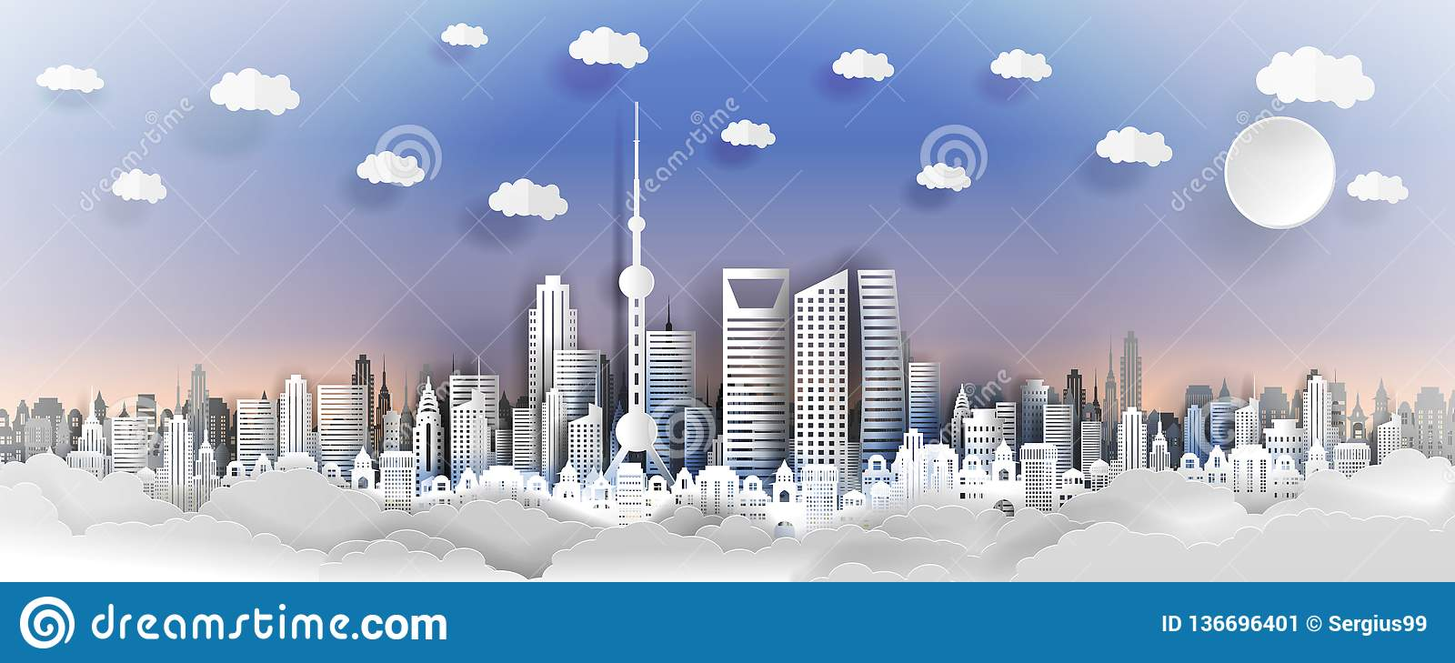 Shanhai city concept, China. Paper art city on back with buildings, towers, clouds.