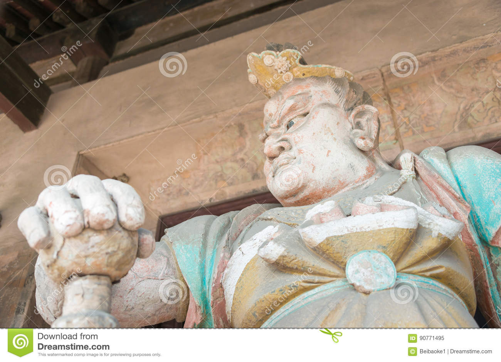 SHANXI, CHINA - Sept 03 2015: Estátua de Budda no templo de Shuanglin (U