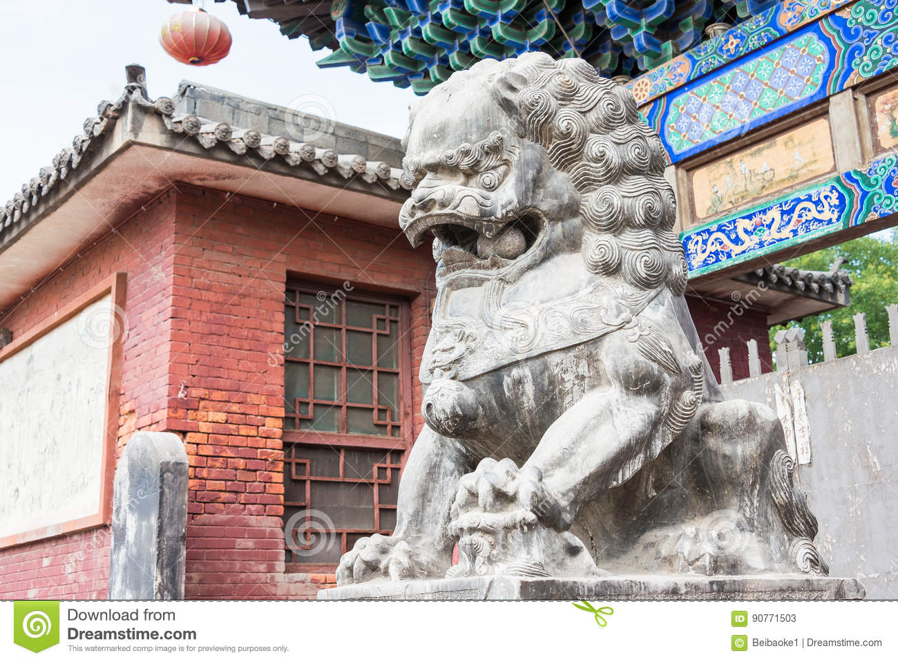 SHANXI, CHINA - Sept 03 2015: Lion Statue at Shuanglin Temple(UNESCO World Heritage site). a famous historic site in