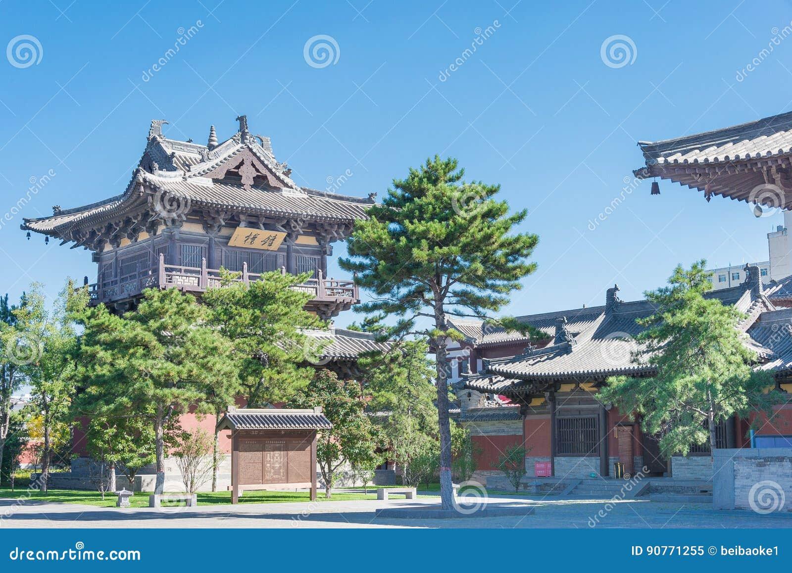 SHANXI, CHINA - Sept 25 2015: Templo de Huayan um histórico famoso