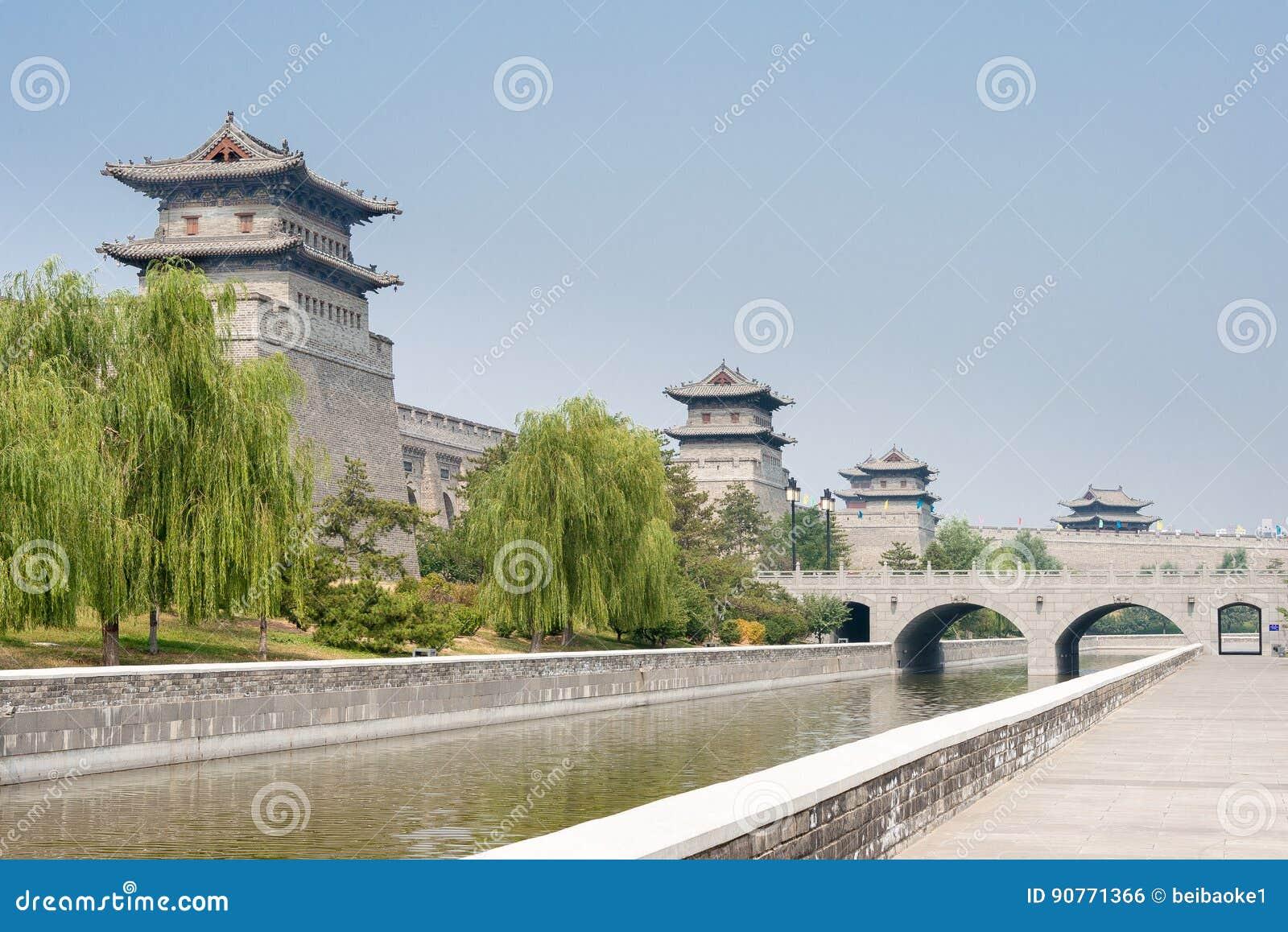 SHANXI, CHINY - Sept 21 2015: Datong miasta ściana sławny Histor