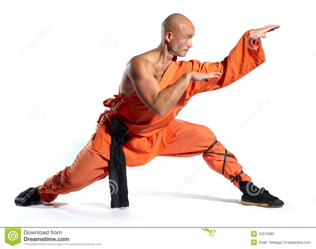 Shaolin warriors monk on white background.