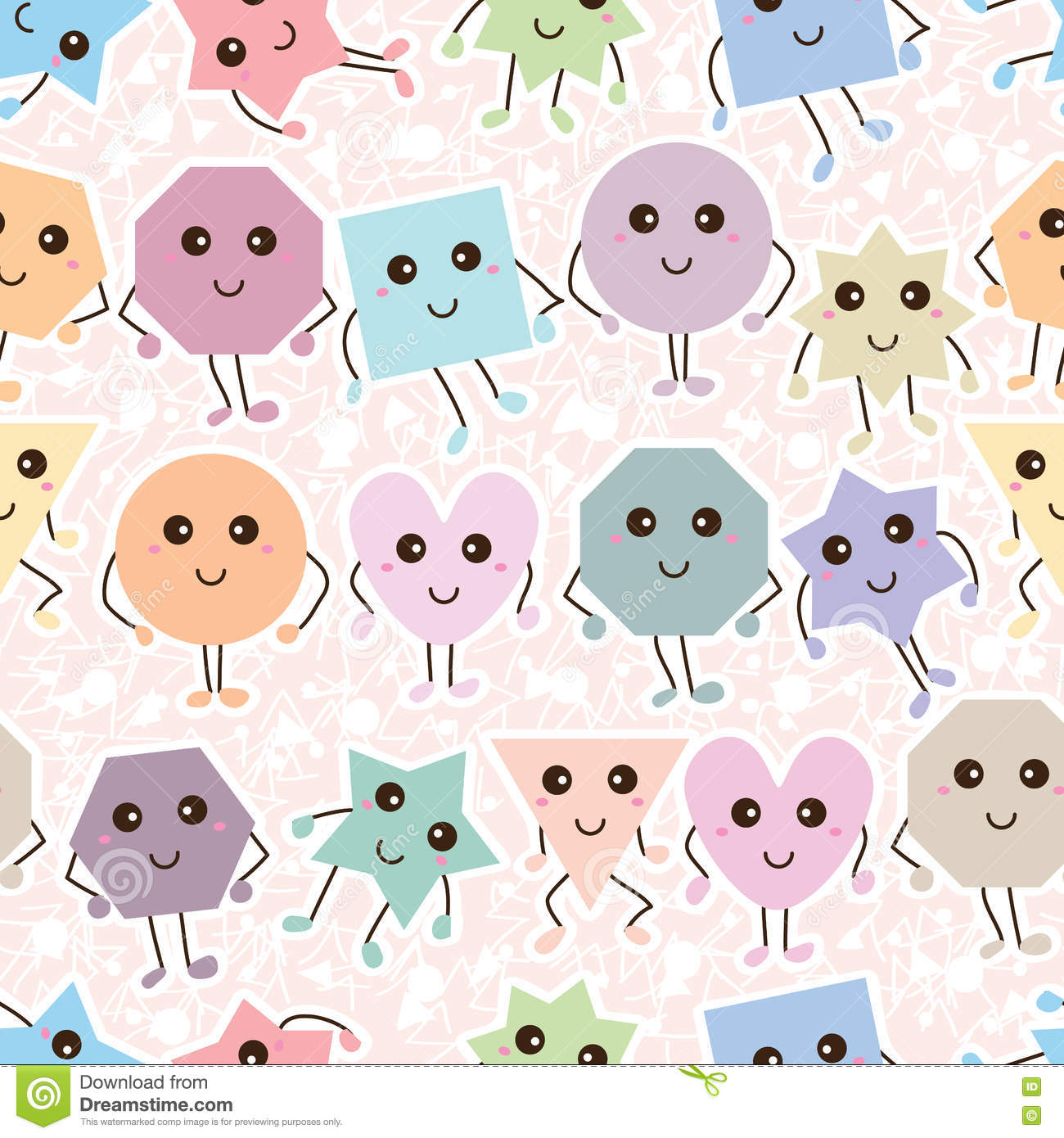 Shape cartoon simply white seamless pattern