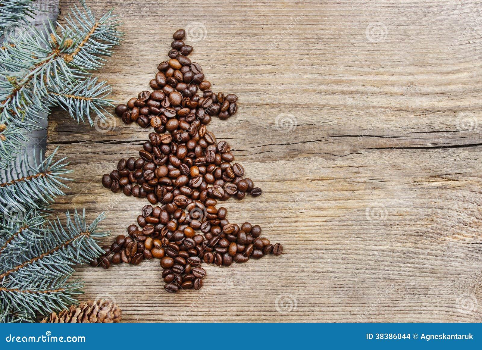 Coffee Christmas Tree.Shape Of Christmas Tree Made Of Coffee Beans Stock Photo