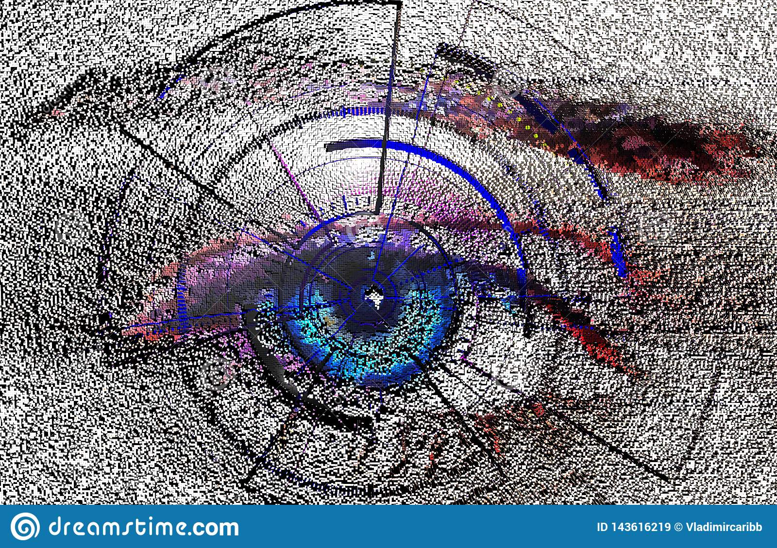 Shape composition, block, geometric structure. biometric scan of the human eye , software interface , illustration of pixel 3D